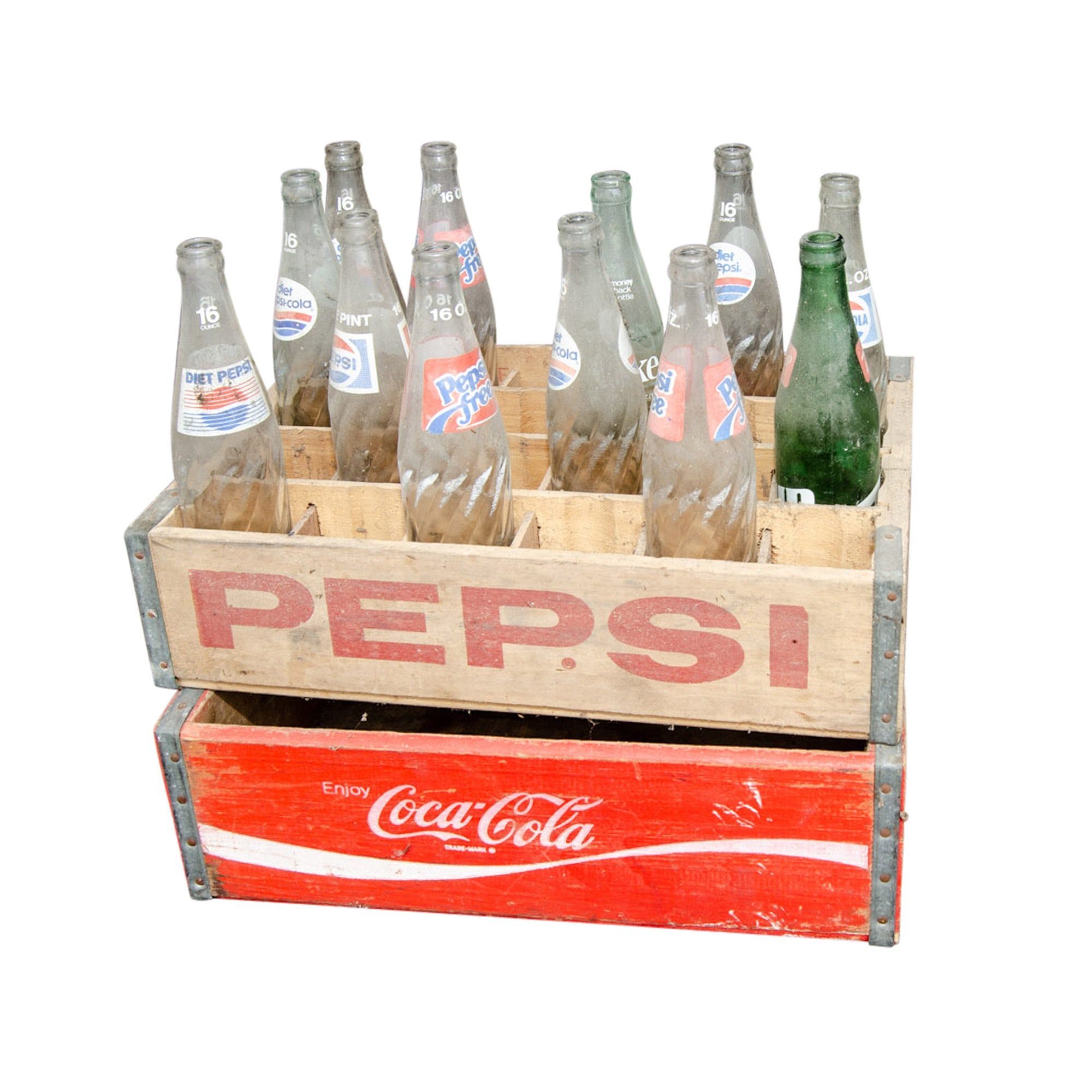 Vintage Soda Pop Bottles and Crates