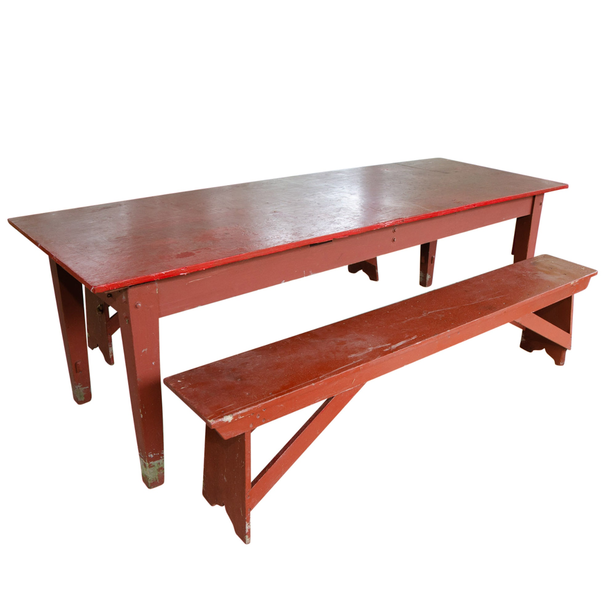 Vintage Oak Picnic Table and Benches