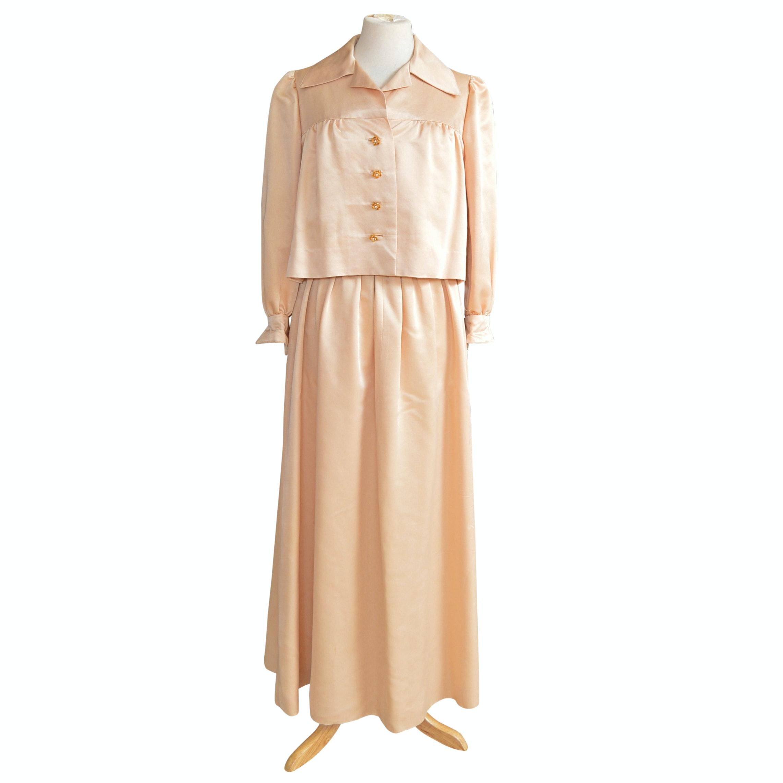 Vintage Women's Custom Made Beige Satin Evening Suit