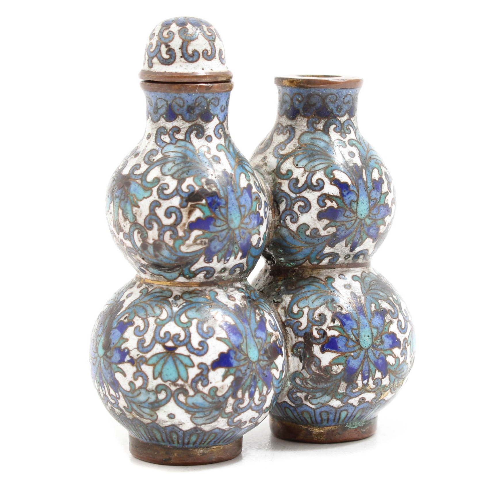 Chinese Cloisonné Gourd-Shaped Double Snuff Bottle