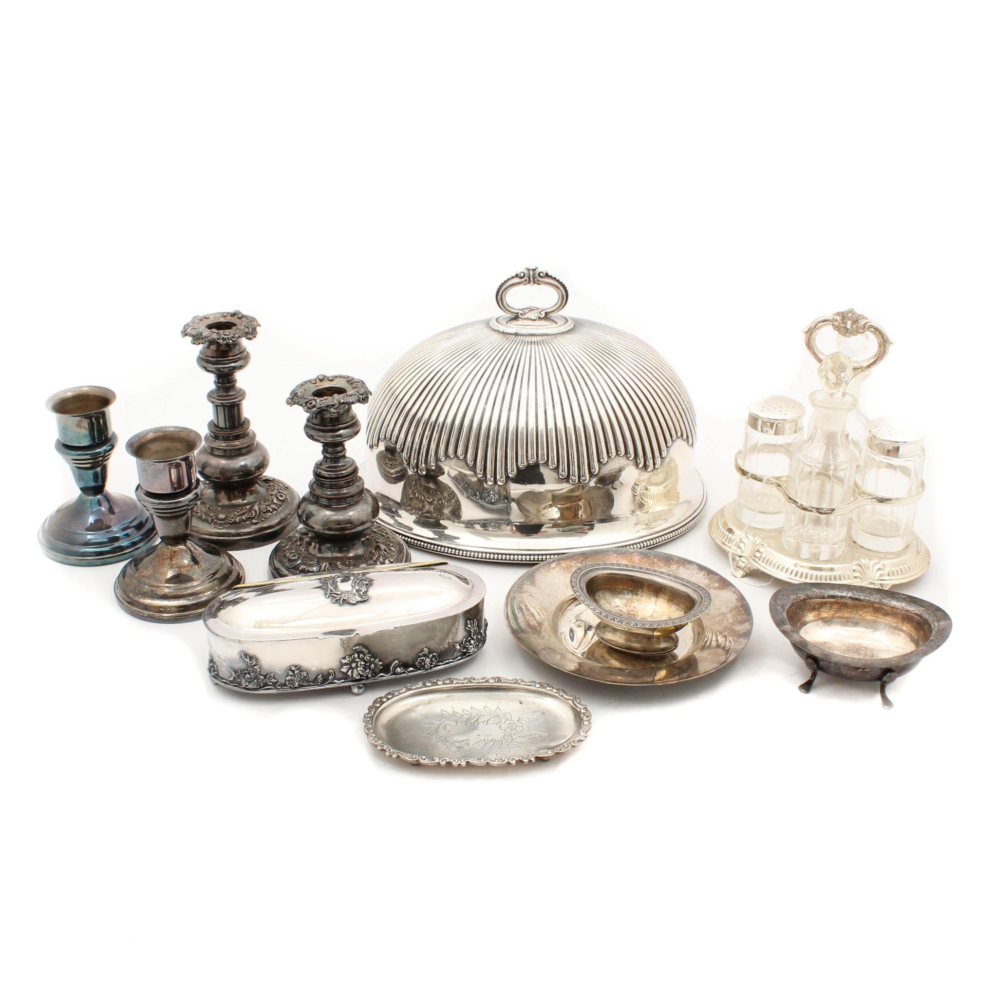 Silver Plate Cruet Set, Candlesticks and Serverware
