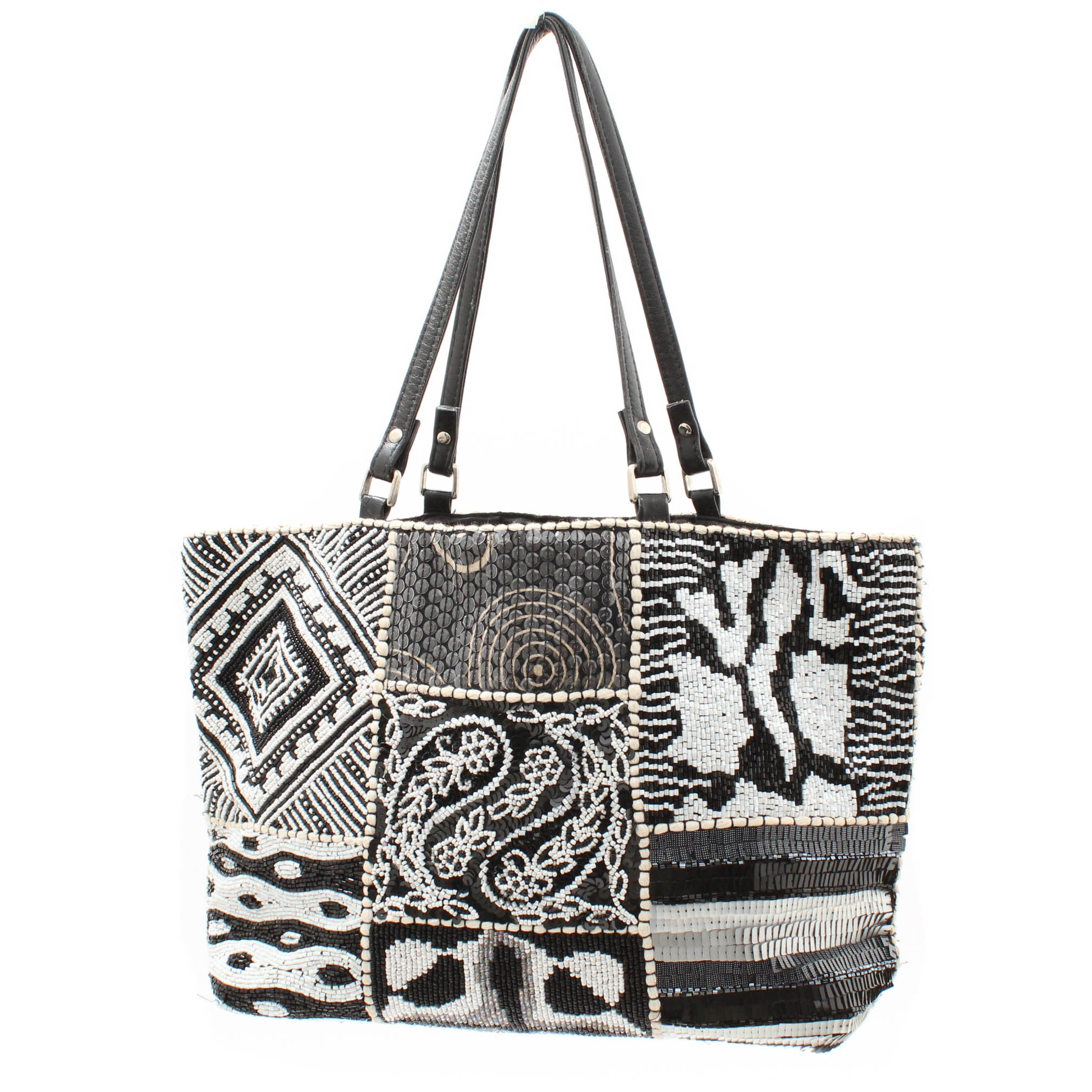 Christiana Beaded Black and White Tote