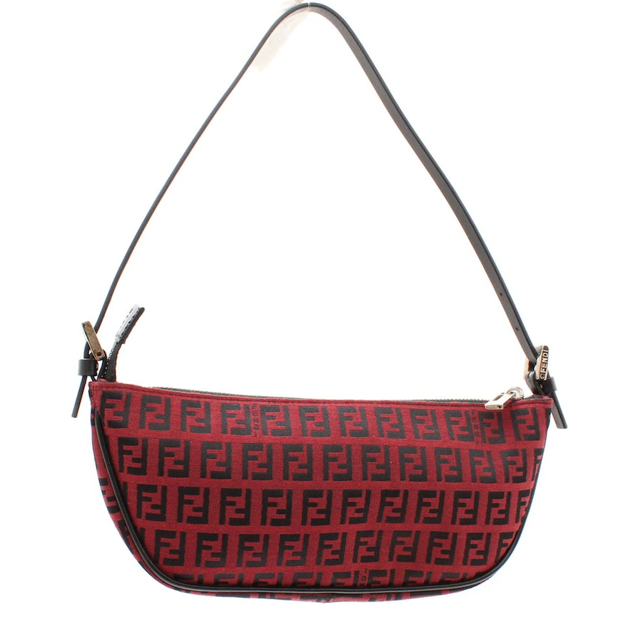 0bba427af0f2 Fendi Zucca Red and Black Canvas and Leather Mini Baguette