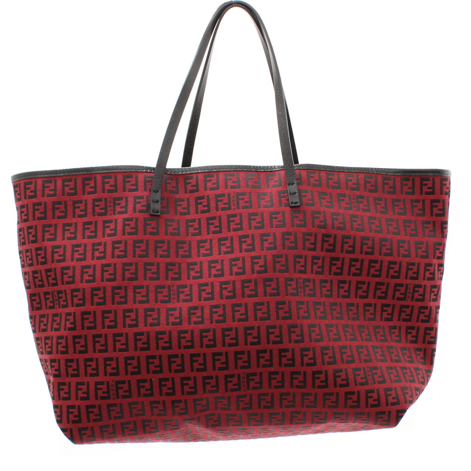 Fendi Zucca Red and Black Canvas and Leather Tote