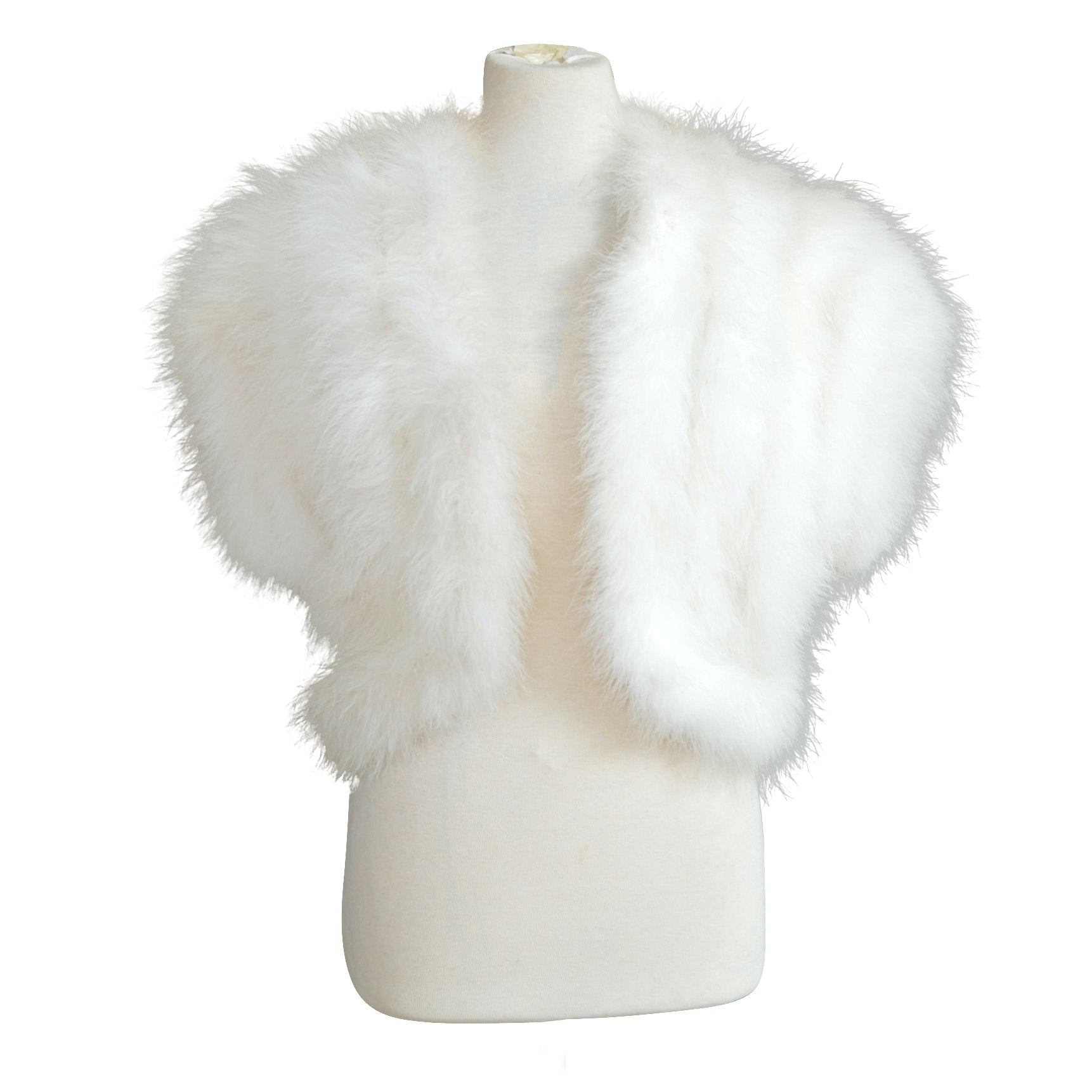 Women's Vintage White Marabou Feather Stole