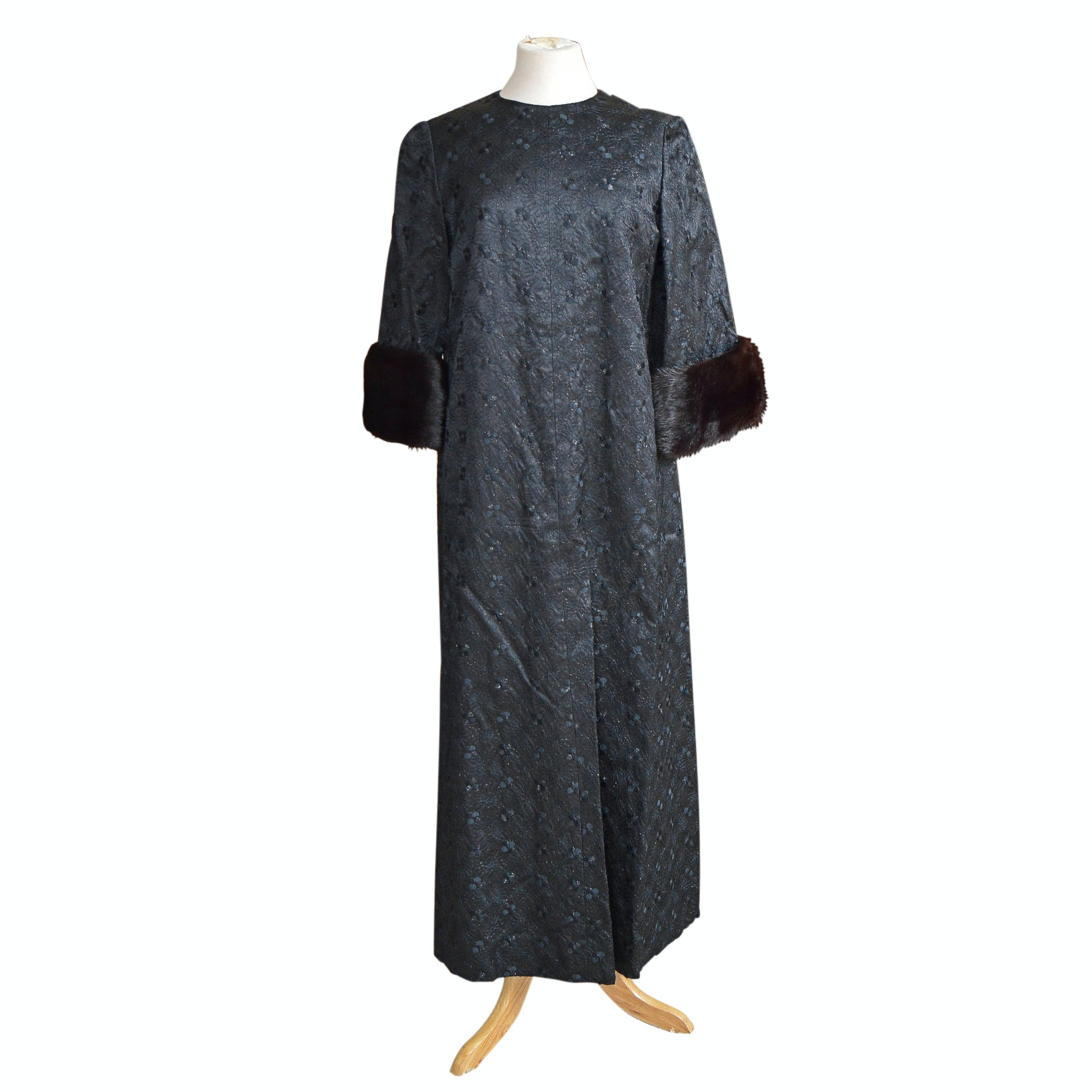 Vintage Black Brocade Caftan with Dark Brown Mink Cuffs