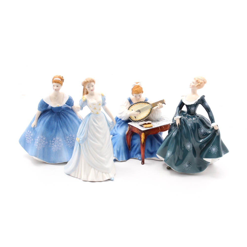 Royal Doulton Bone China Female Figurines in Shades of Blue