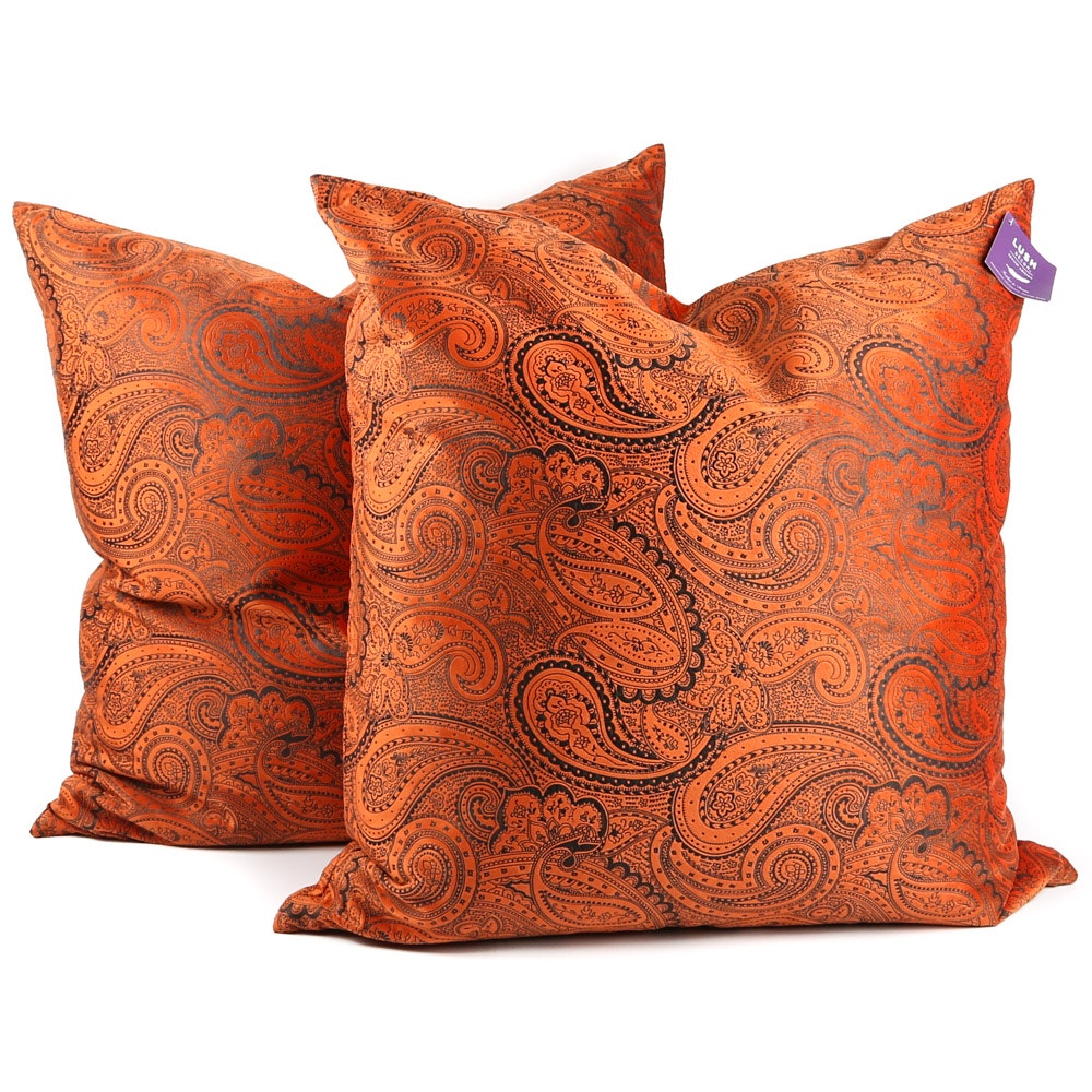 Feather-Filled Paisley Bed Pillows by Lush Decor