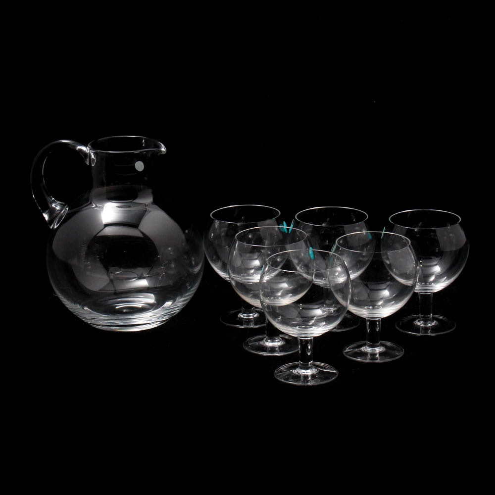 "Tiffany & Co. ""Refresher Set"" Crystal Pitcher and Water Goblets"