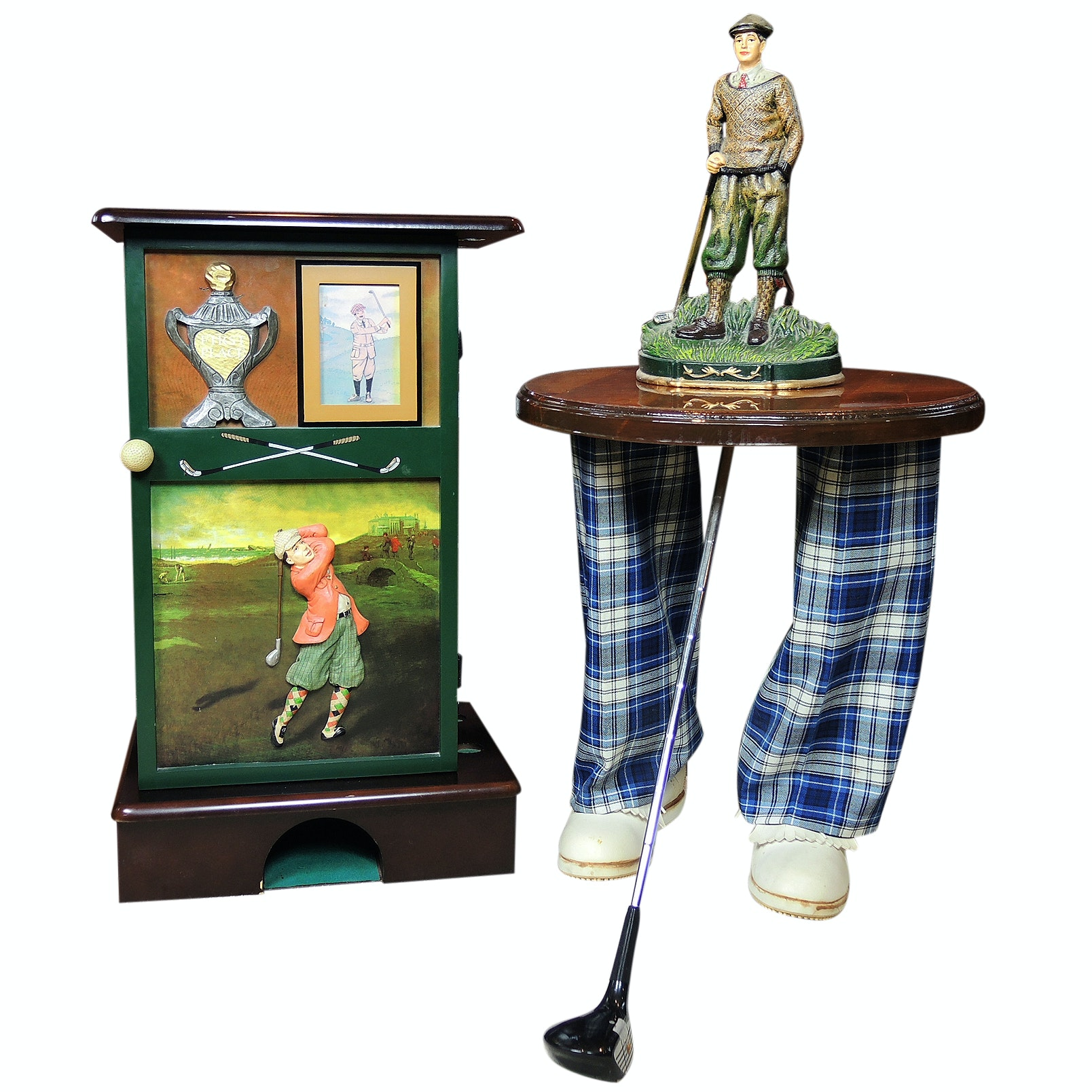 Golf Themed Tables and Cast Iron Figurine