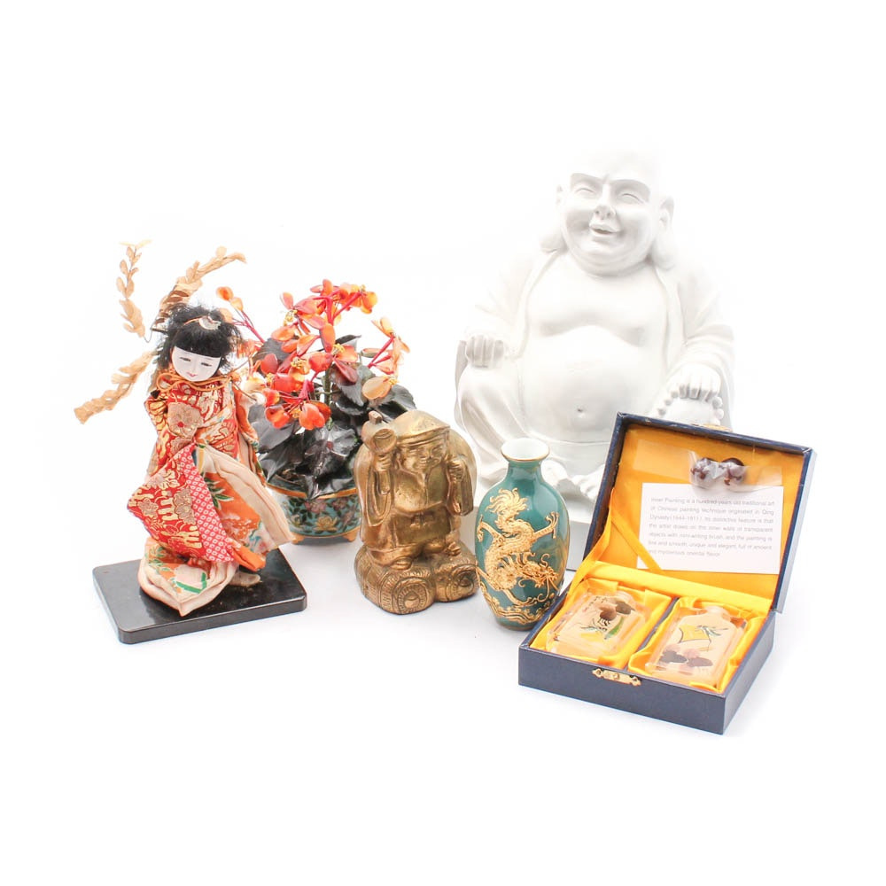 East Asian Figurines and Vase