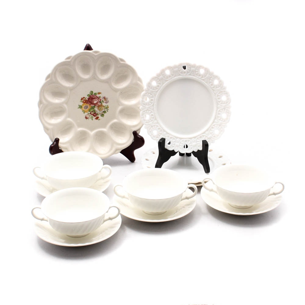 "Royal Doulton ""Cascade"" Bone China Cream Soup Bowls With Assorted Tableware"