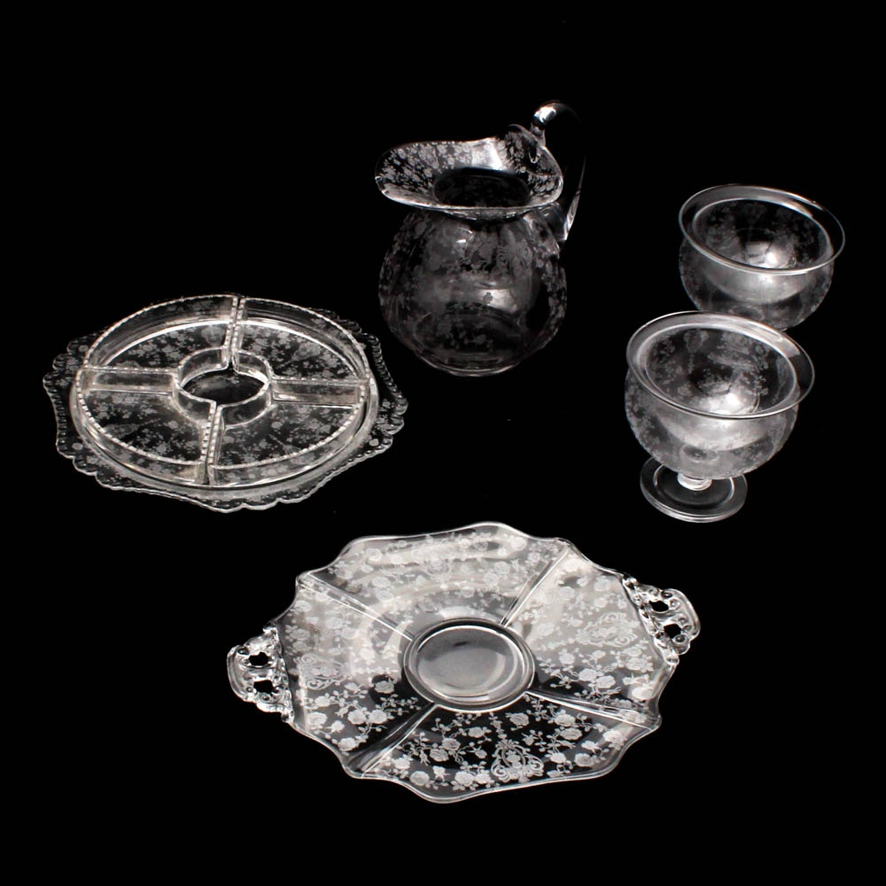 "Cambridge Glass ""Rose Point"" Clear Tableware"