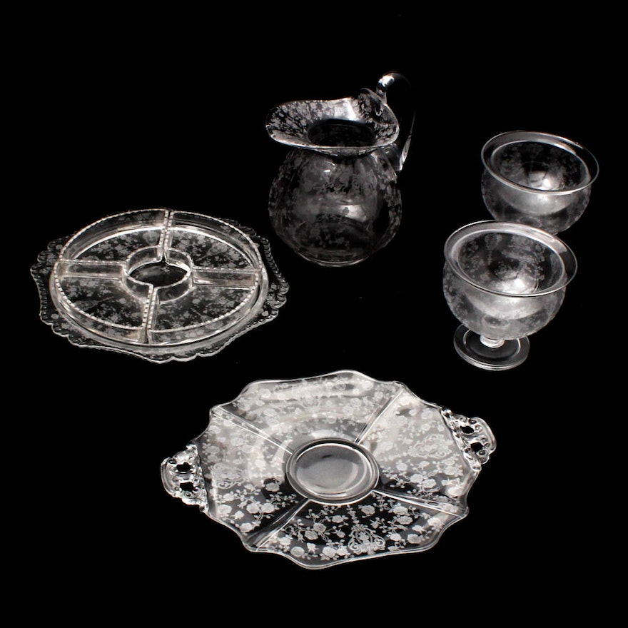 cambridge glass rose point clear tableware - Cambridge Glass