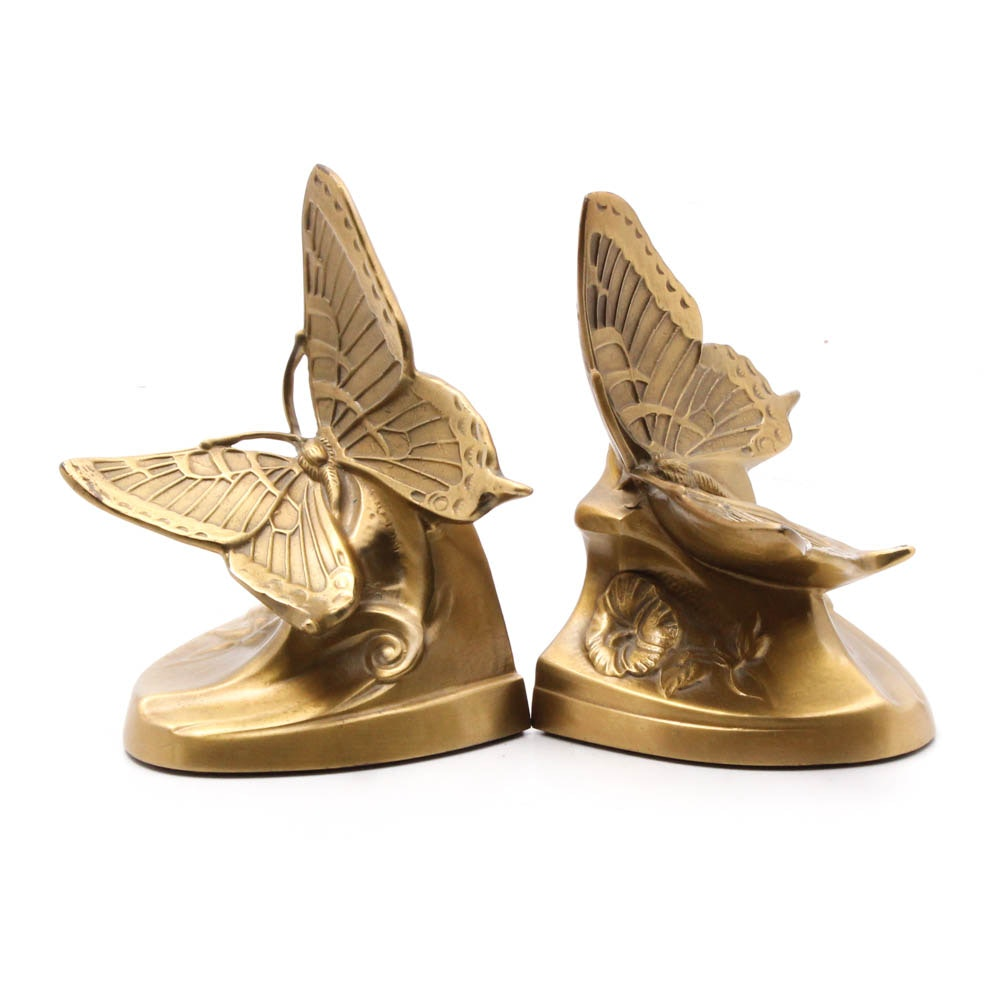 PM Craftsman Cast Metal Butterfly Bookends
