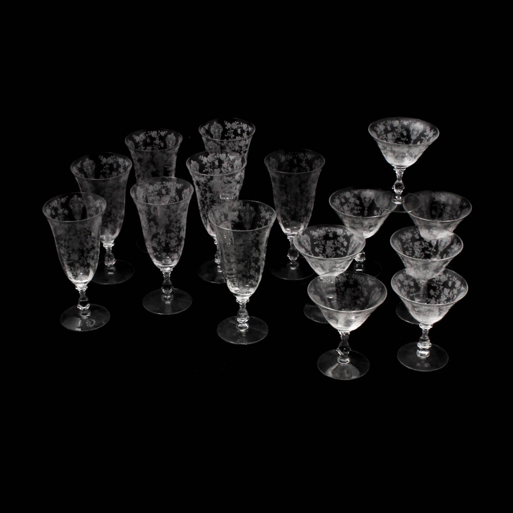 "Cambridge Glass ""Rose Point"" Stemware"
