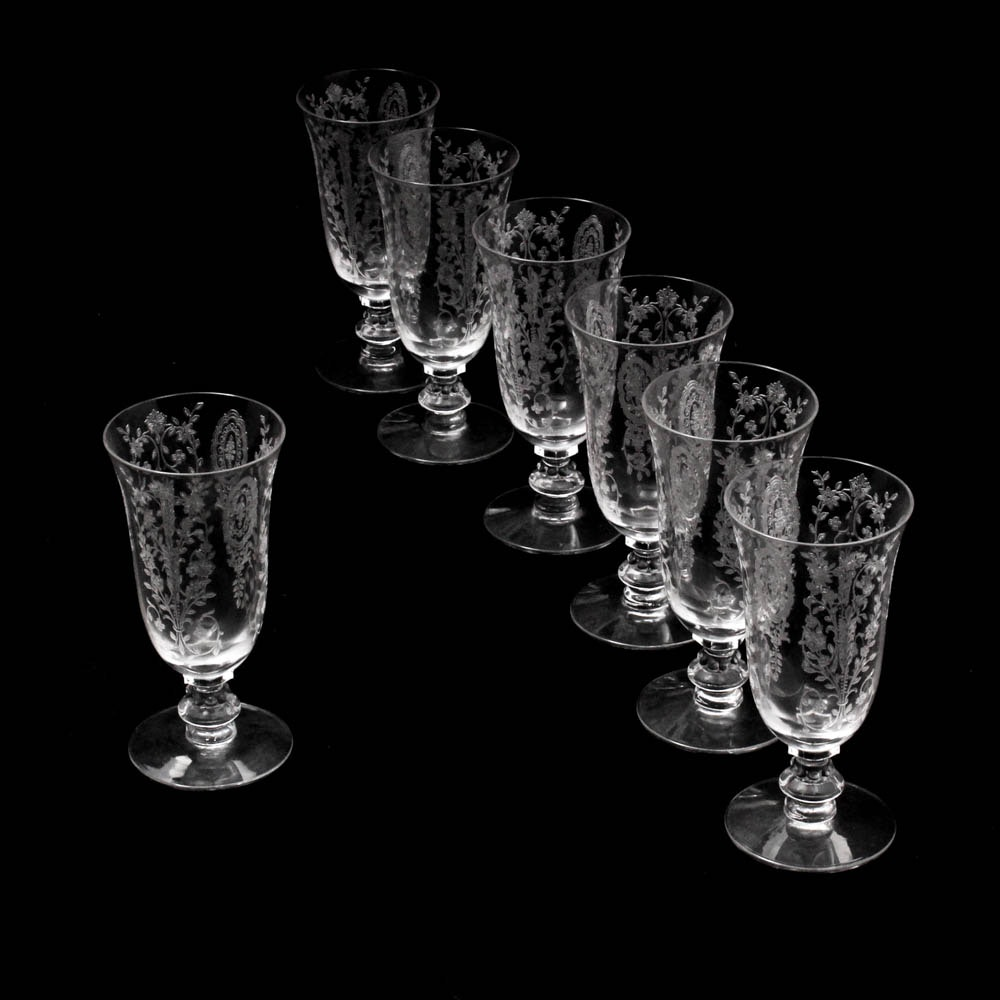 "Cambridge Glass ""Rose Point"" Clear Juice Glasses"