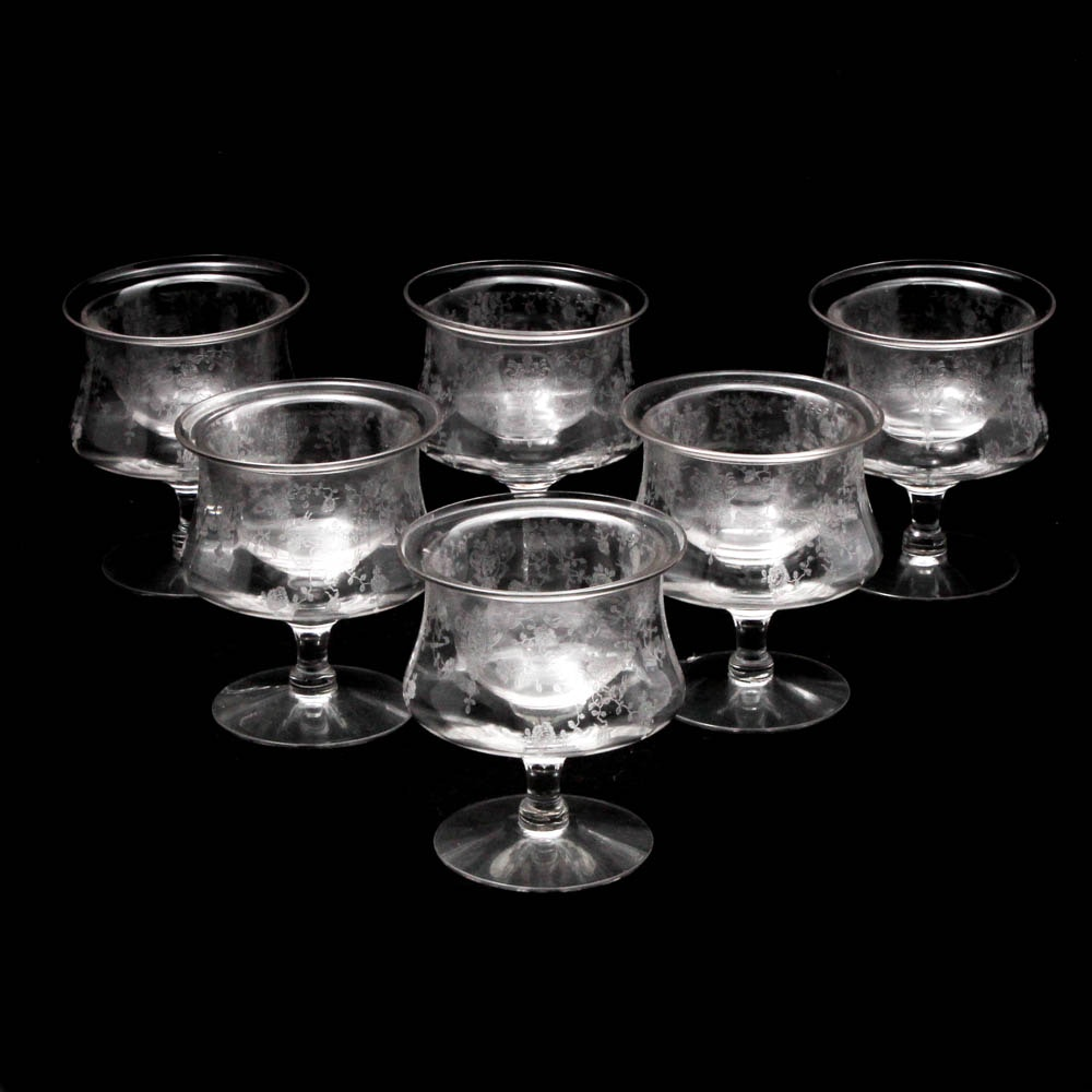 "Cambridge Glass ""Rose Point"" Clear Shrimp Cocktail Glasses"
