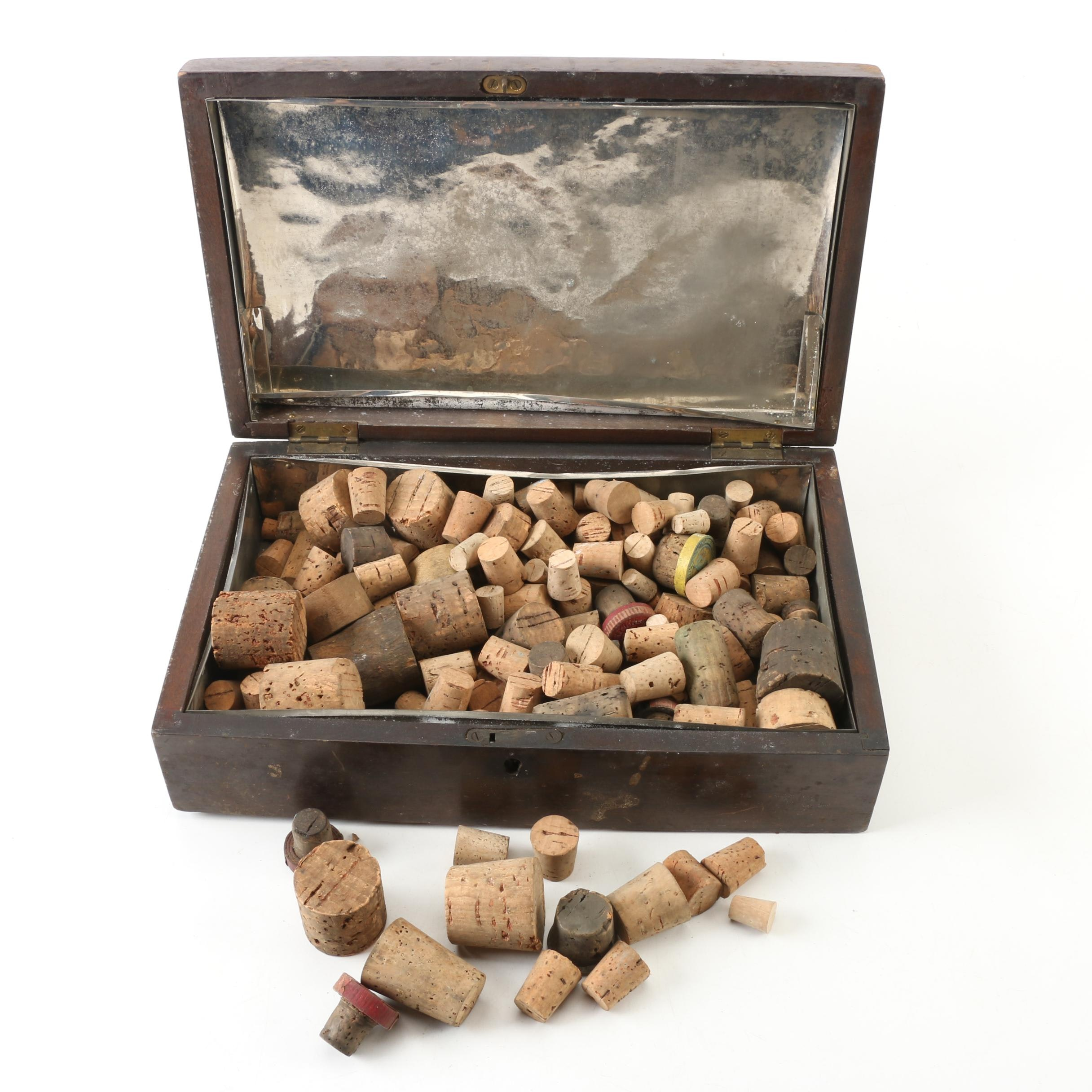 Cork Collection in Vintage Wooden Box
