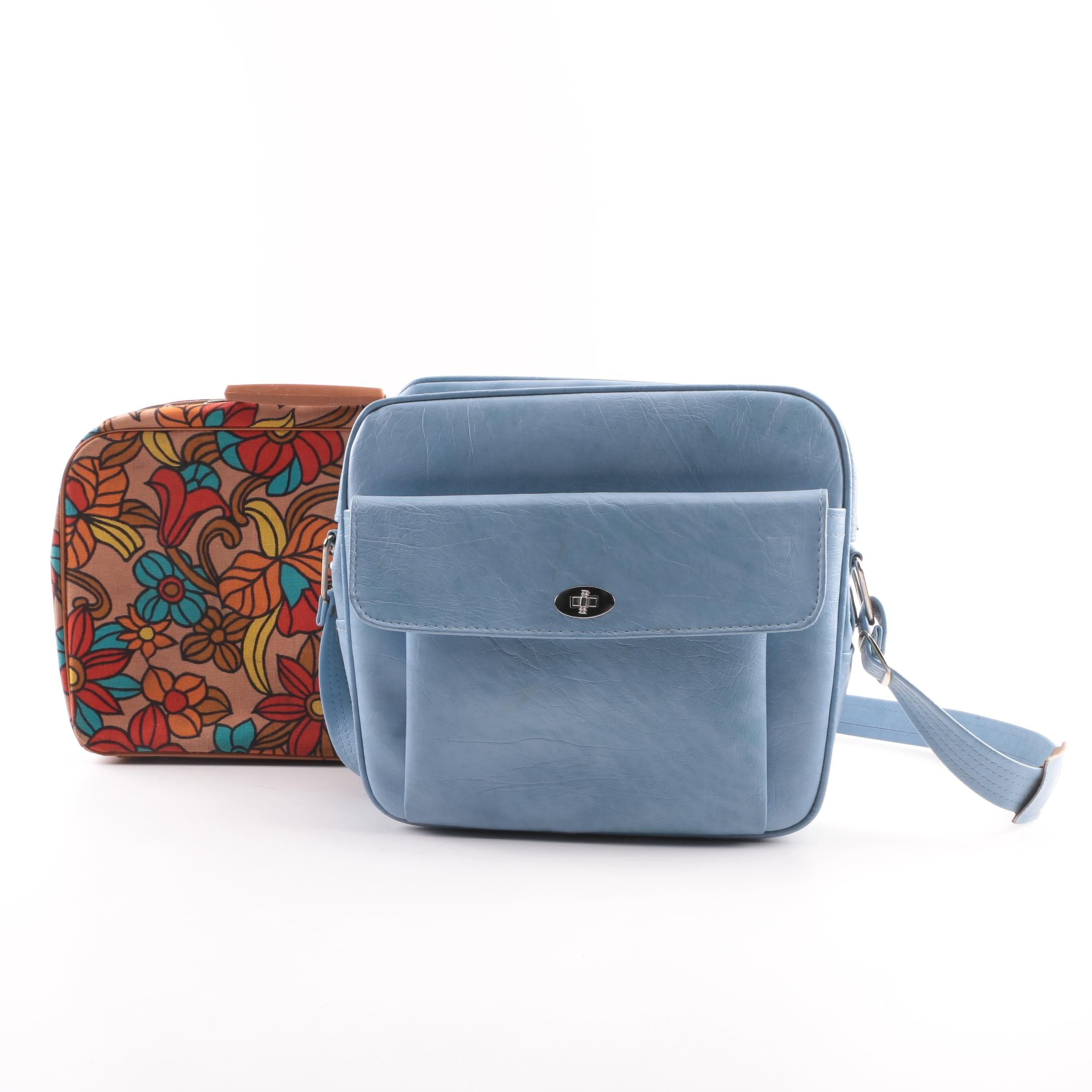 Circa 1970s Vintage Floral Canvas and Blue Vinyl Travel Carry-On Bags