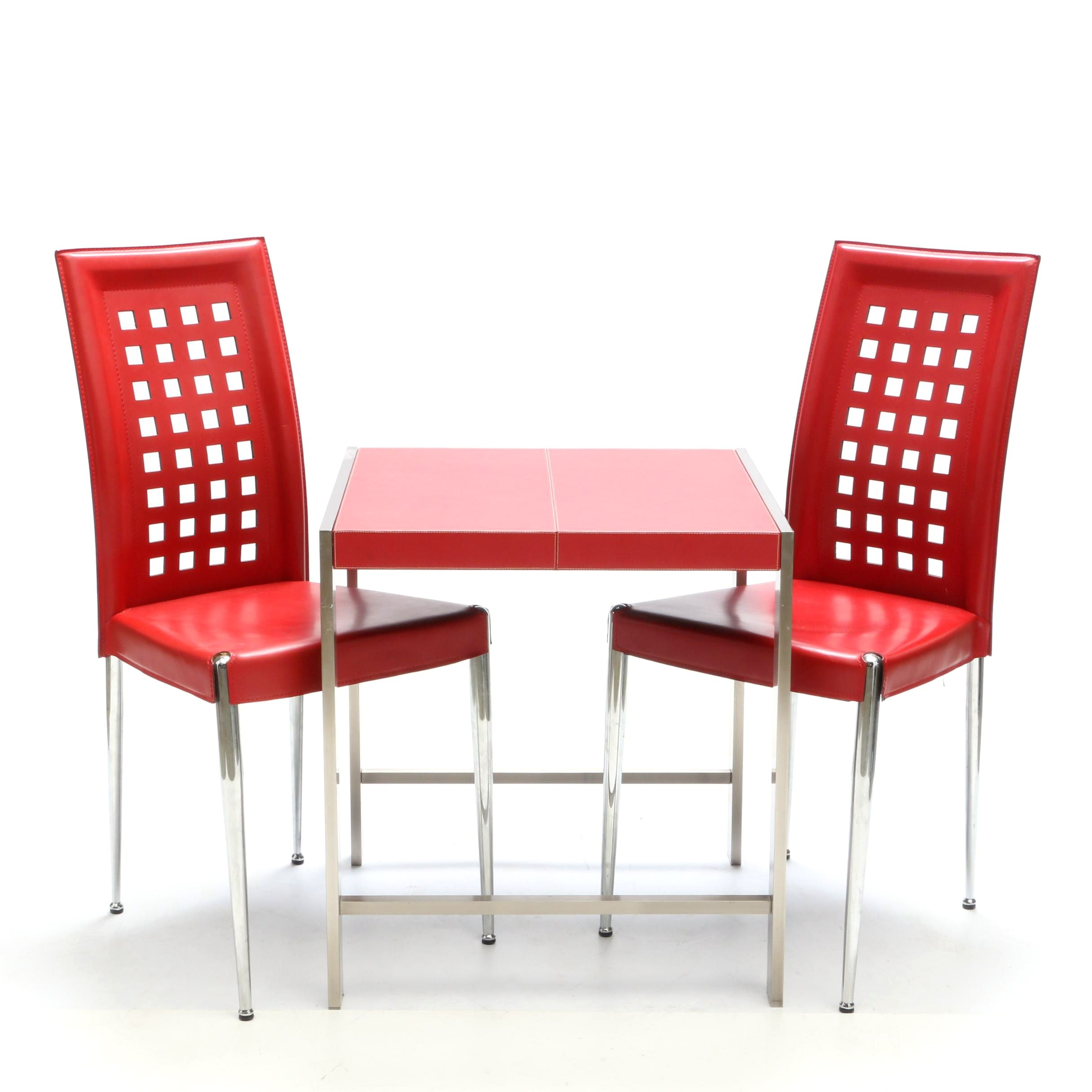 Red Leather Table and Chairs by Oriental Accents