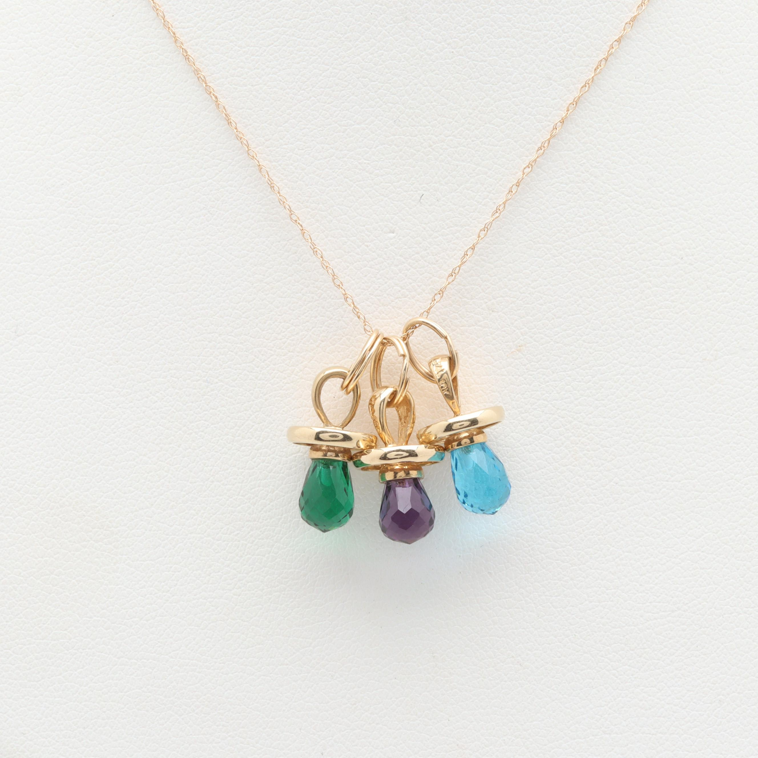 10K and 14K Yellow Gold Amethyst and Glass Charm Pendant Necklace