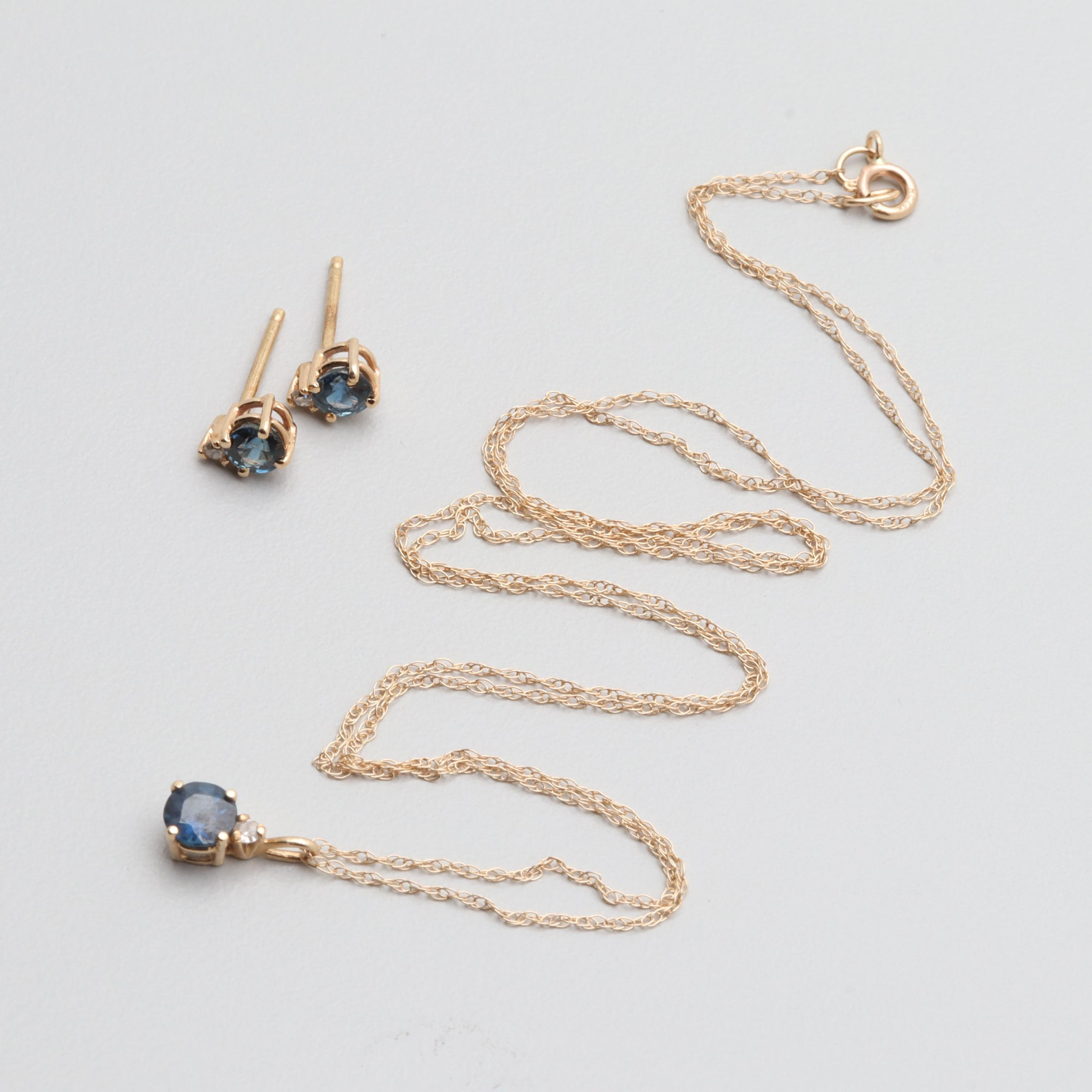 14K Yellow Gold Sapphire and Diamond Necklace and Earring Selection