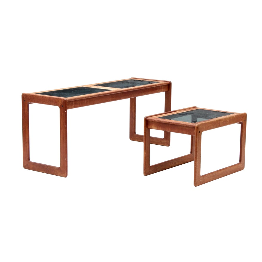 Circa 1970 teak sofa table and end table with tinted glass top ebth circa 1970 teak sofa table and end table with tinted glass top watchthetrailerfo