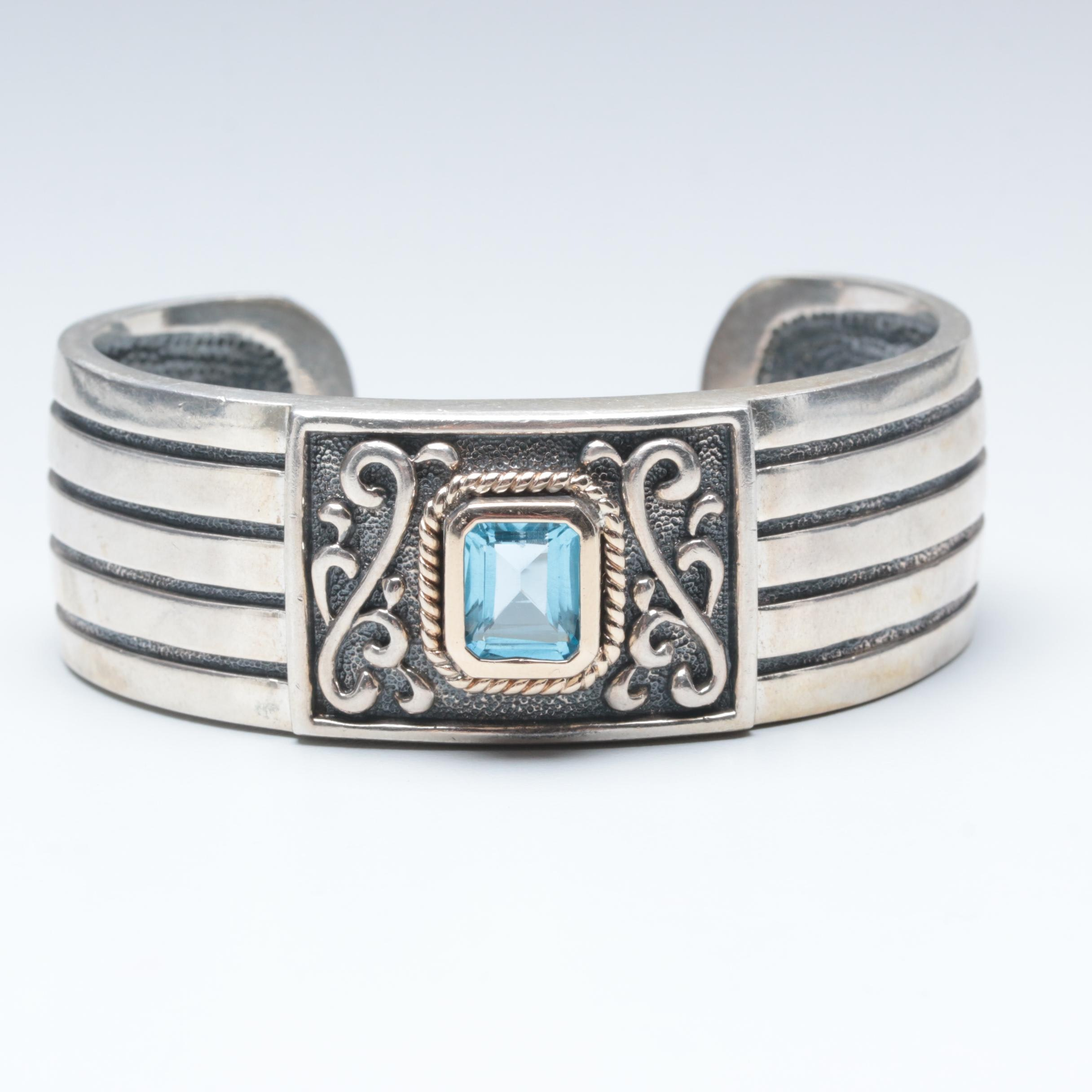 Sterling Silver Blue Topaz Cuff Bracelet with 14K Yellow Gold Accents
