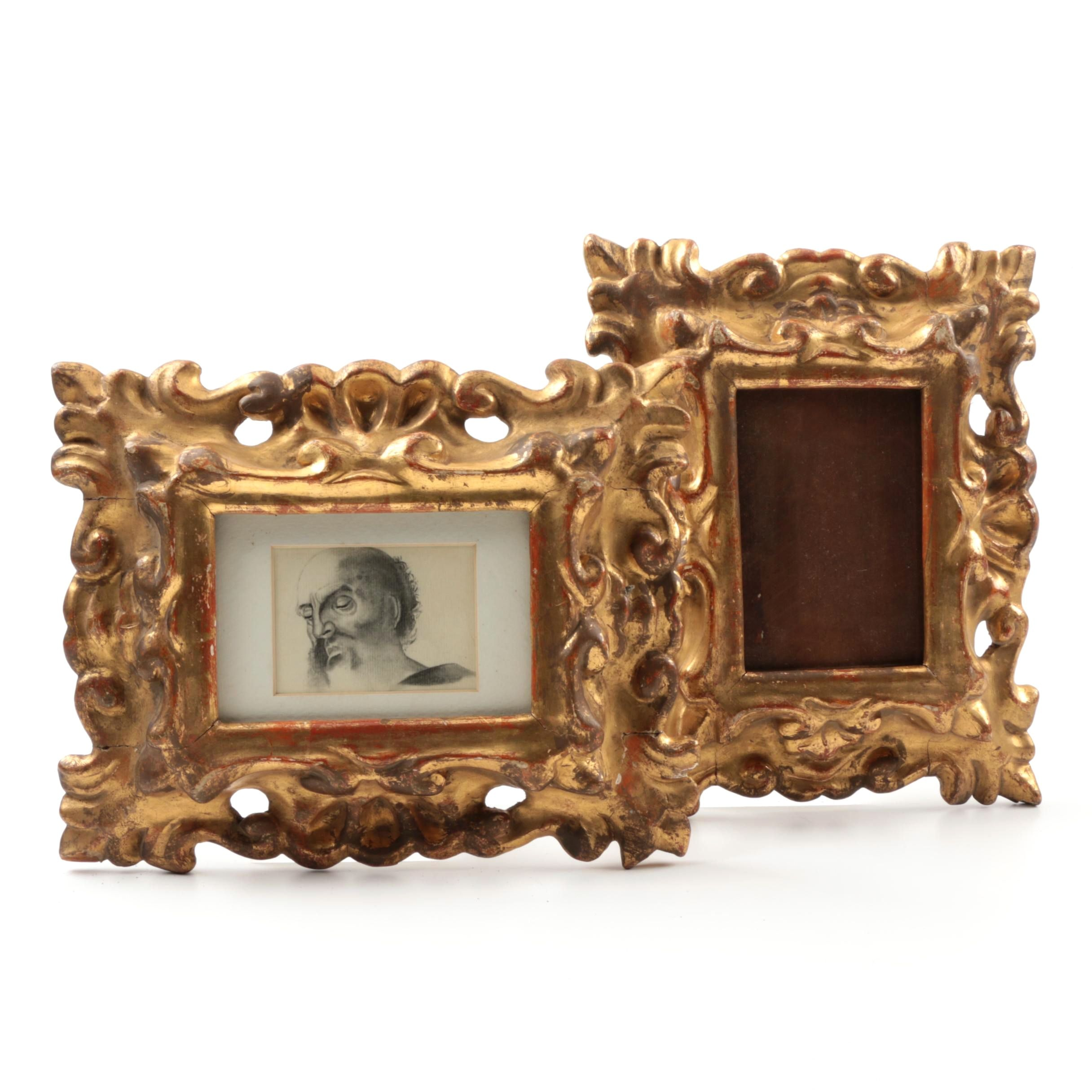 19th-Century Continental Gilt and Gesso Carved Wood Picture Frames
