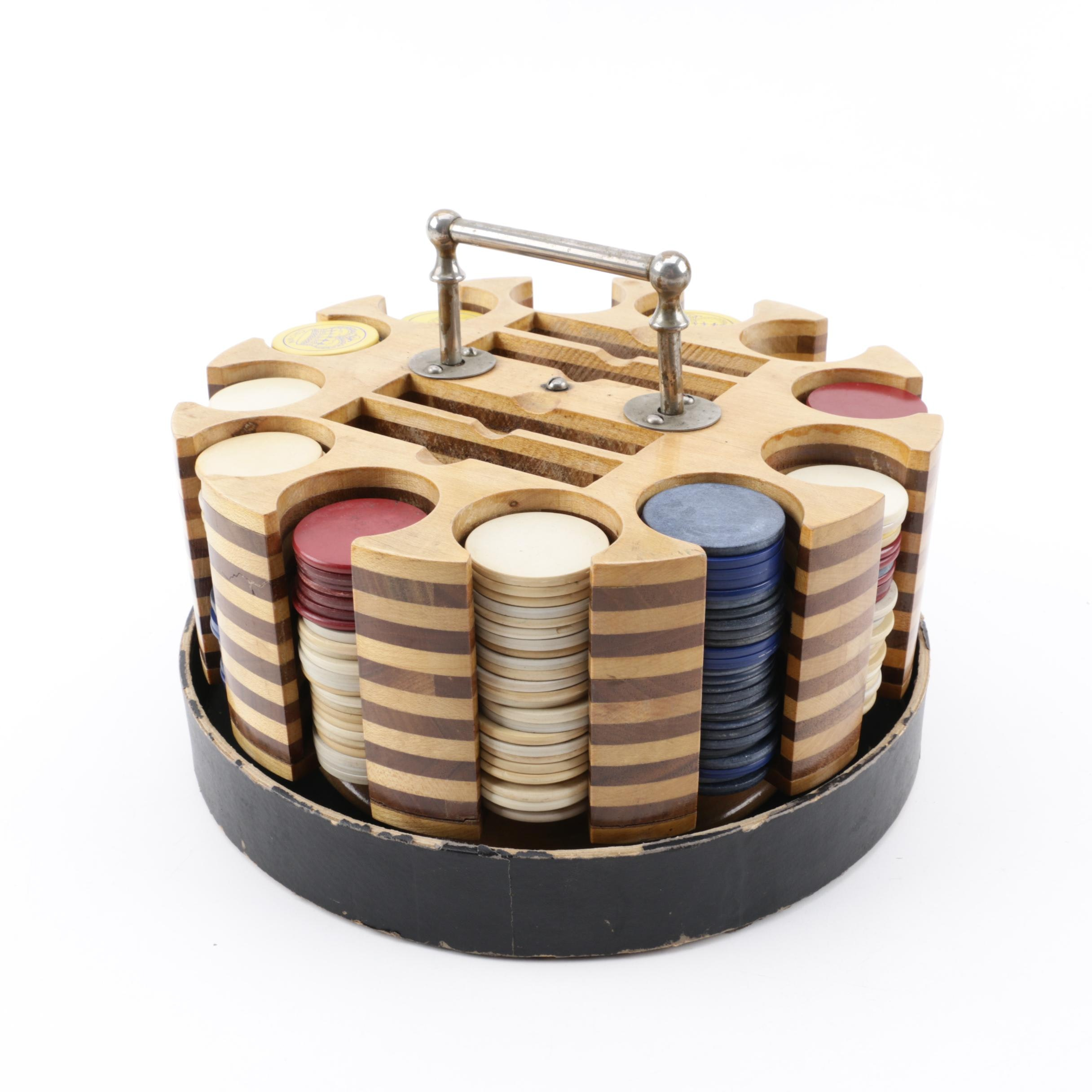 Wooden Poker Chip Carousel with Plastic Chips