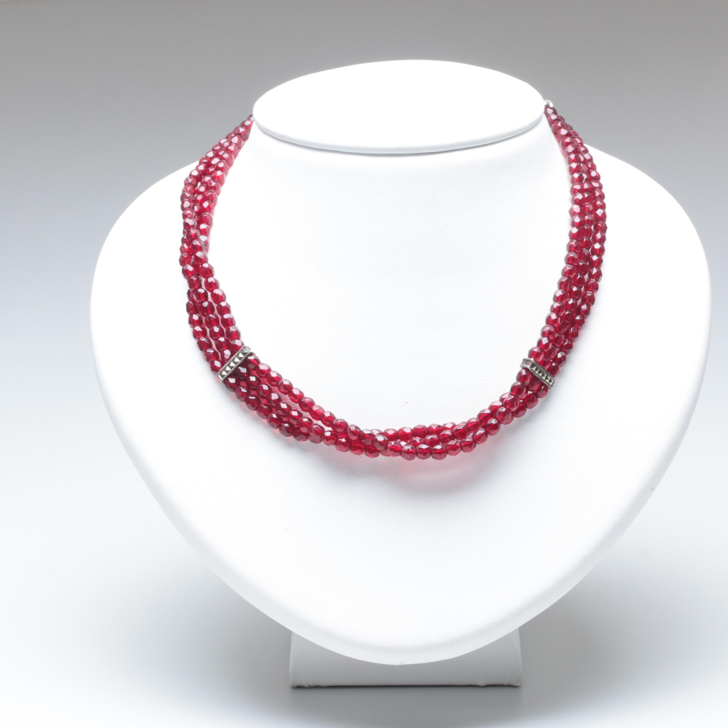 Sterling Silver Glass Collar Necklace