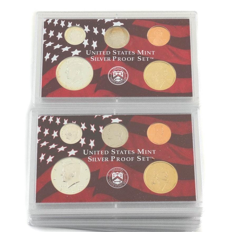 2000 and 2001 U S  Mint Silver Proof Sets Minus Statehood Quarters