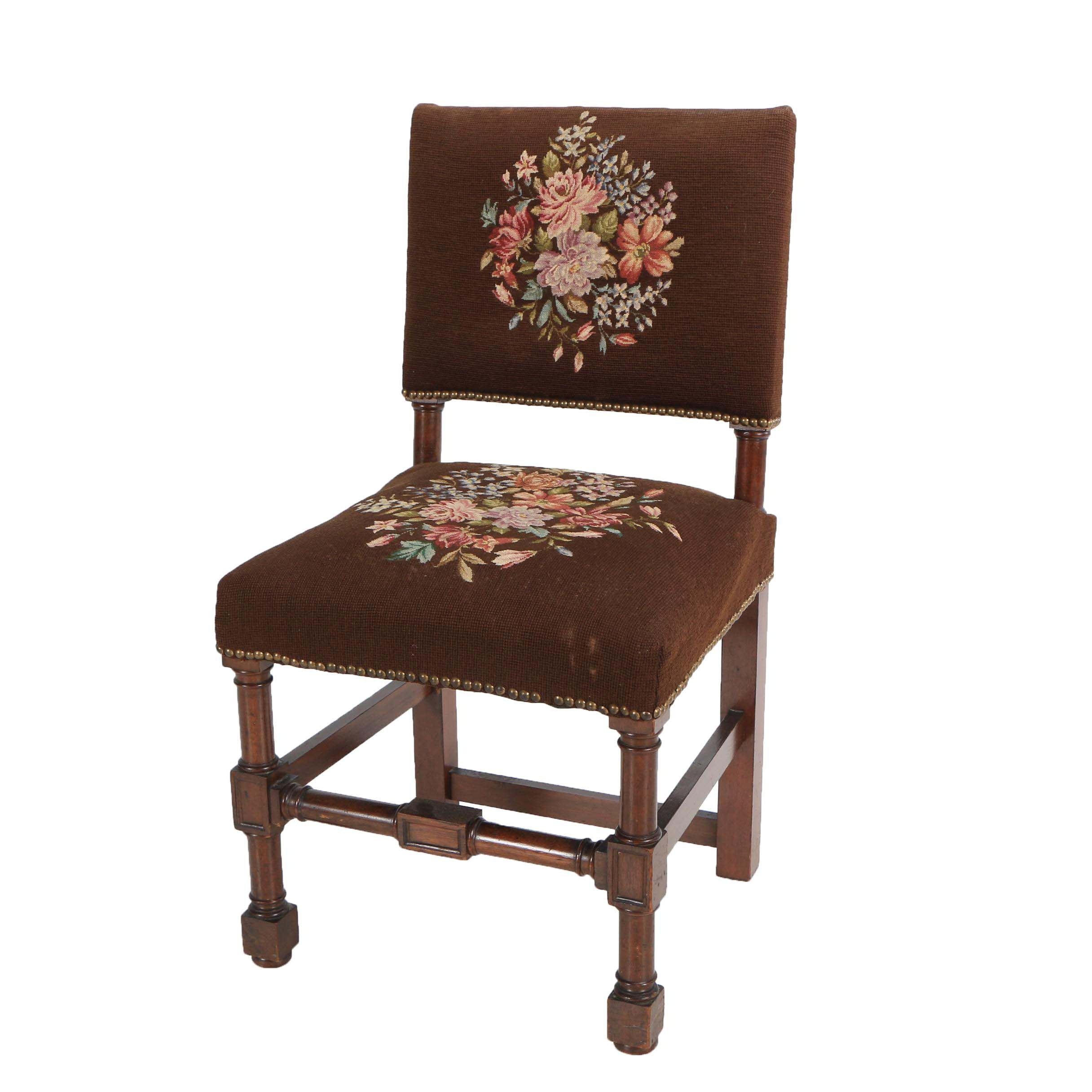 Vintage Jacobean Style Side Chair with Needlepoint Upholstery