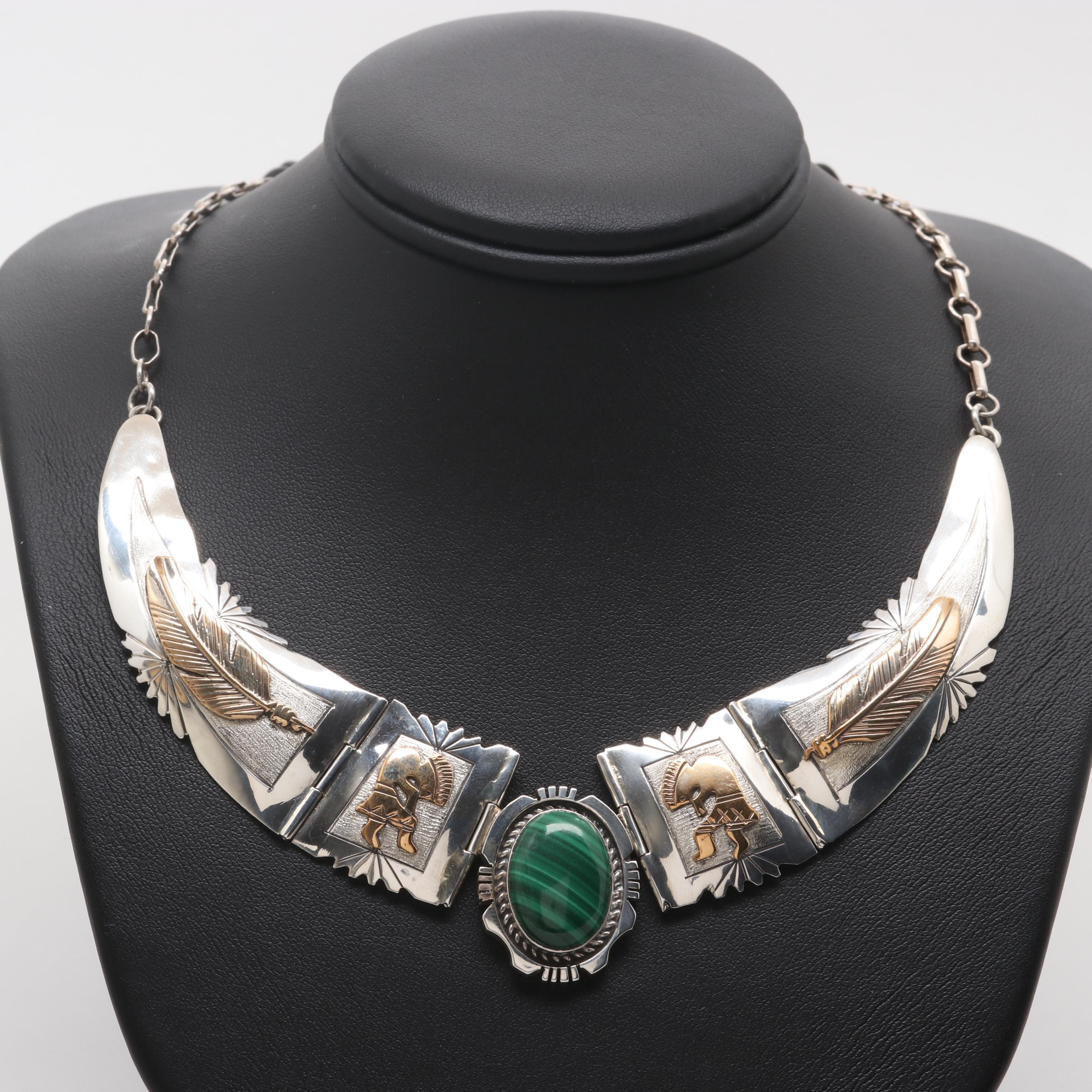 Danny Dale Navajo Diné Sterling Silver Malachite Kokopelli Necklace