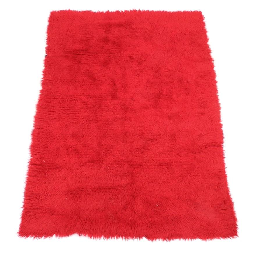 Red Flokati Area Rug