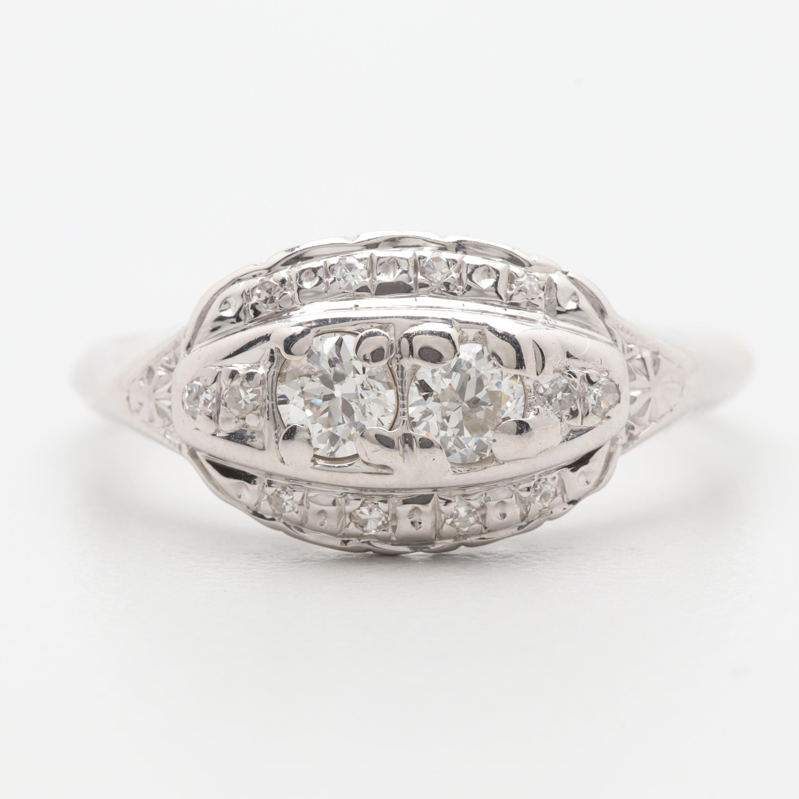Circa 1940s 14K White Gold Diamond Ring
