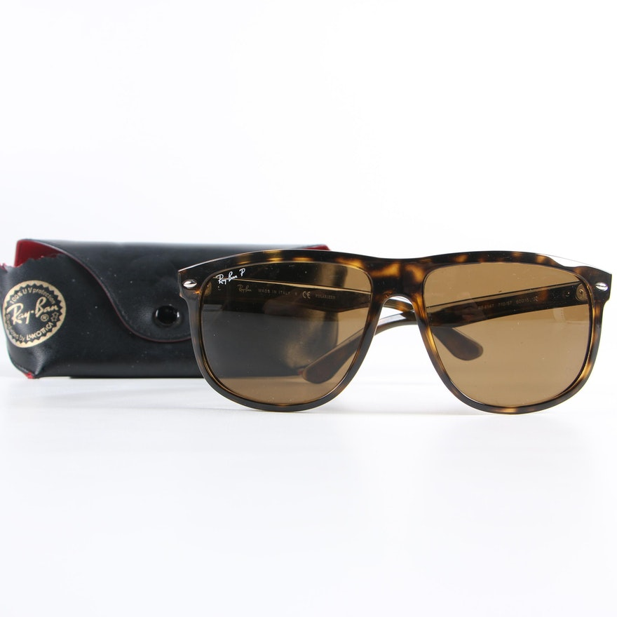 8396b12a3c Ray-Ban 4147 Tortoiseshell Style Polarized Sunglasses with Case   EBTH