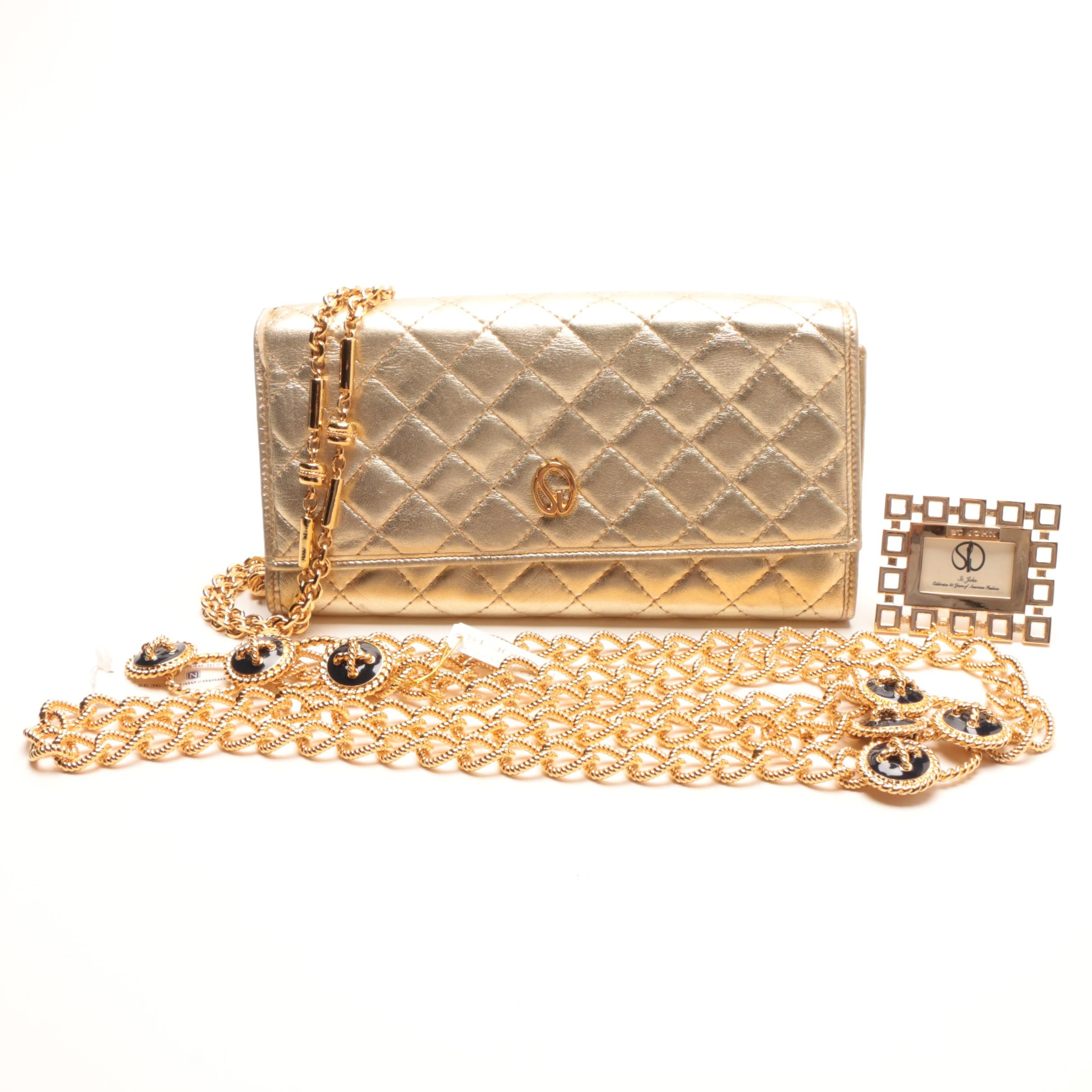 St. John Quilted Gold Metallic Leather Clutch and Other Accessories