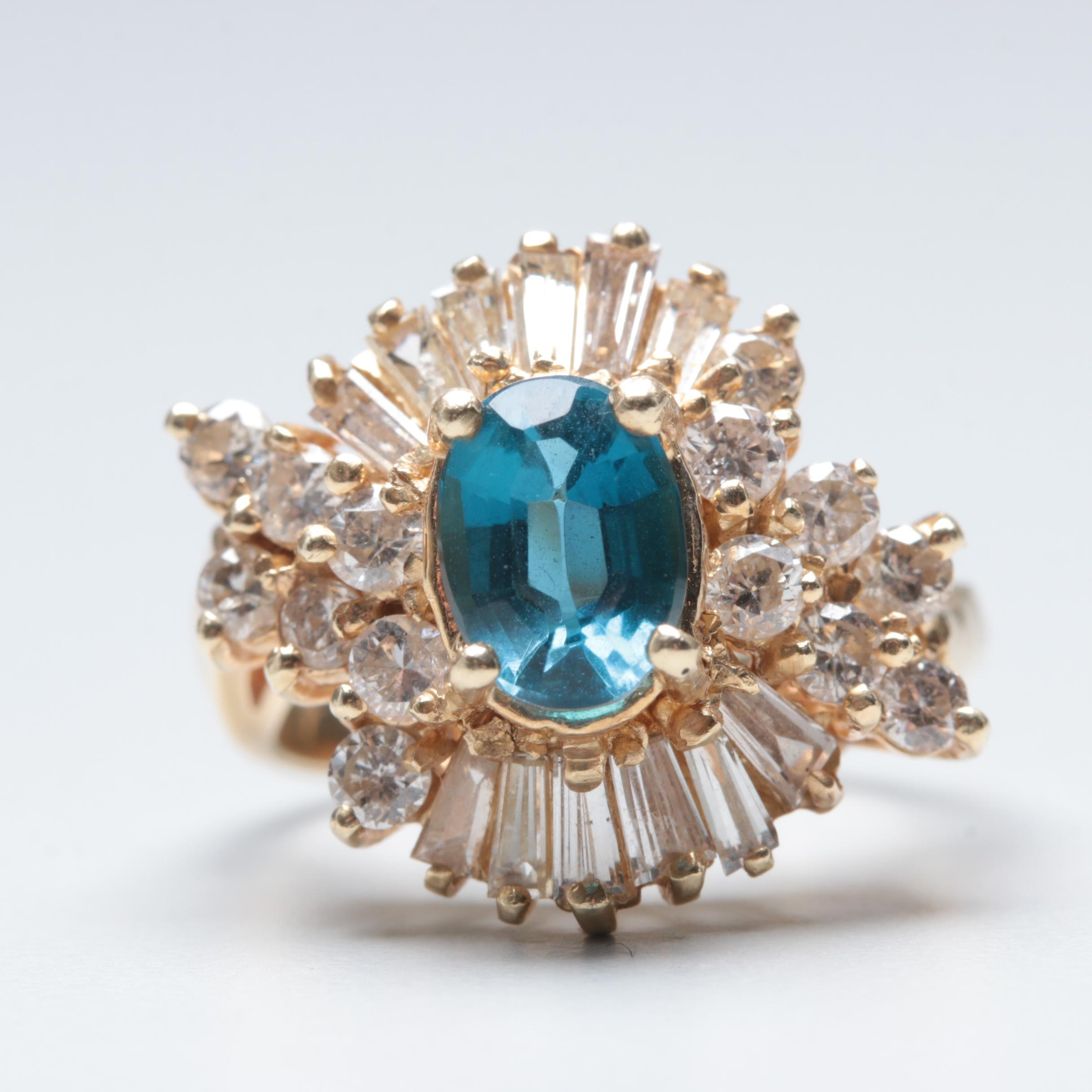 14K Yellow Gold Blue Topaz and 1.51 CTW Diamond Ring