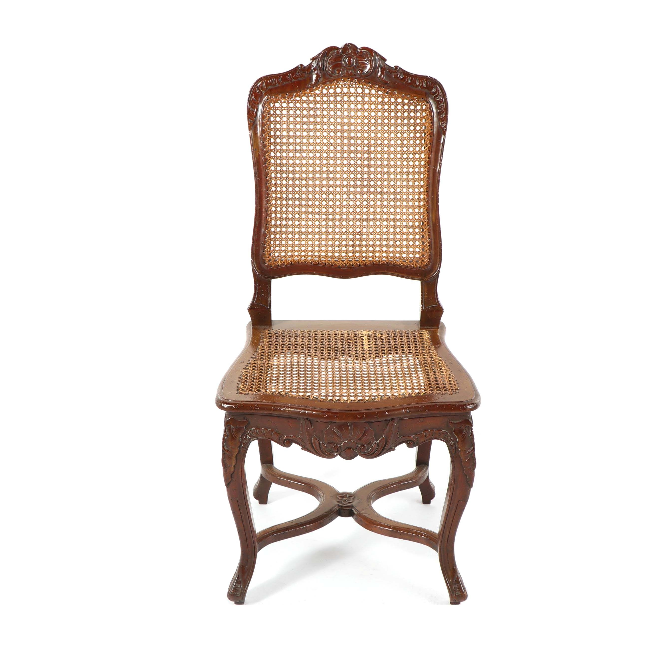 Vintage French Provincial Style Cane Side Chair