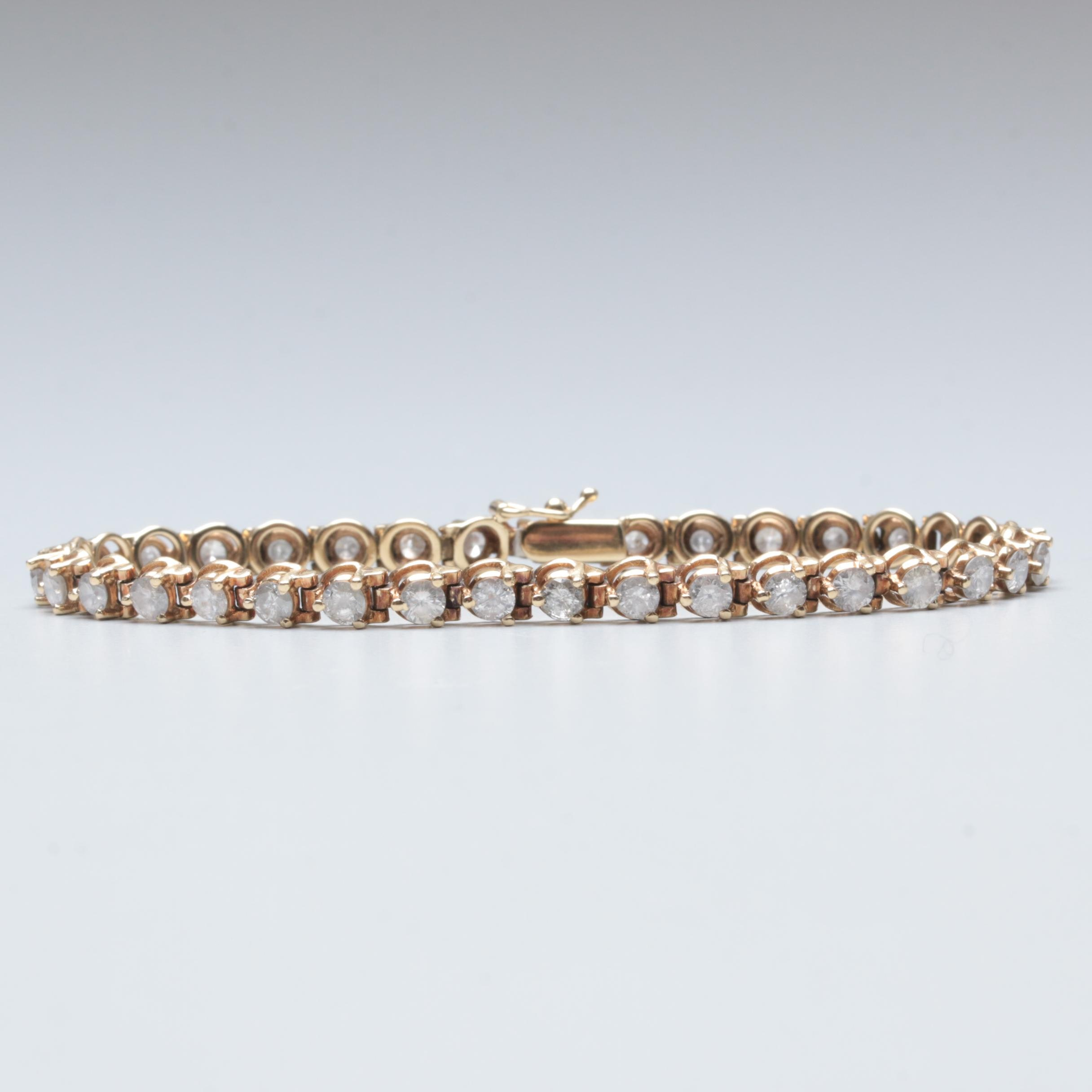 14K Yellow Gold 4.55 CTW Diamond Tennis Bracelet