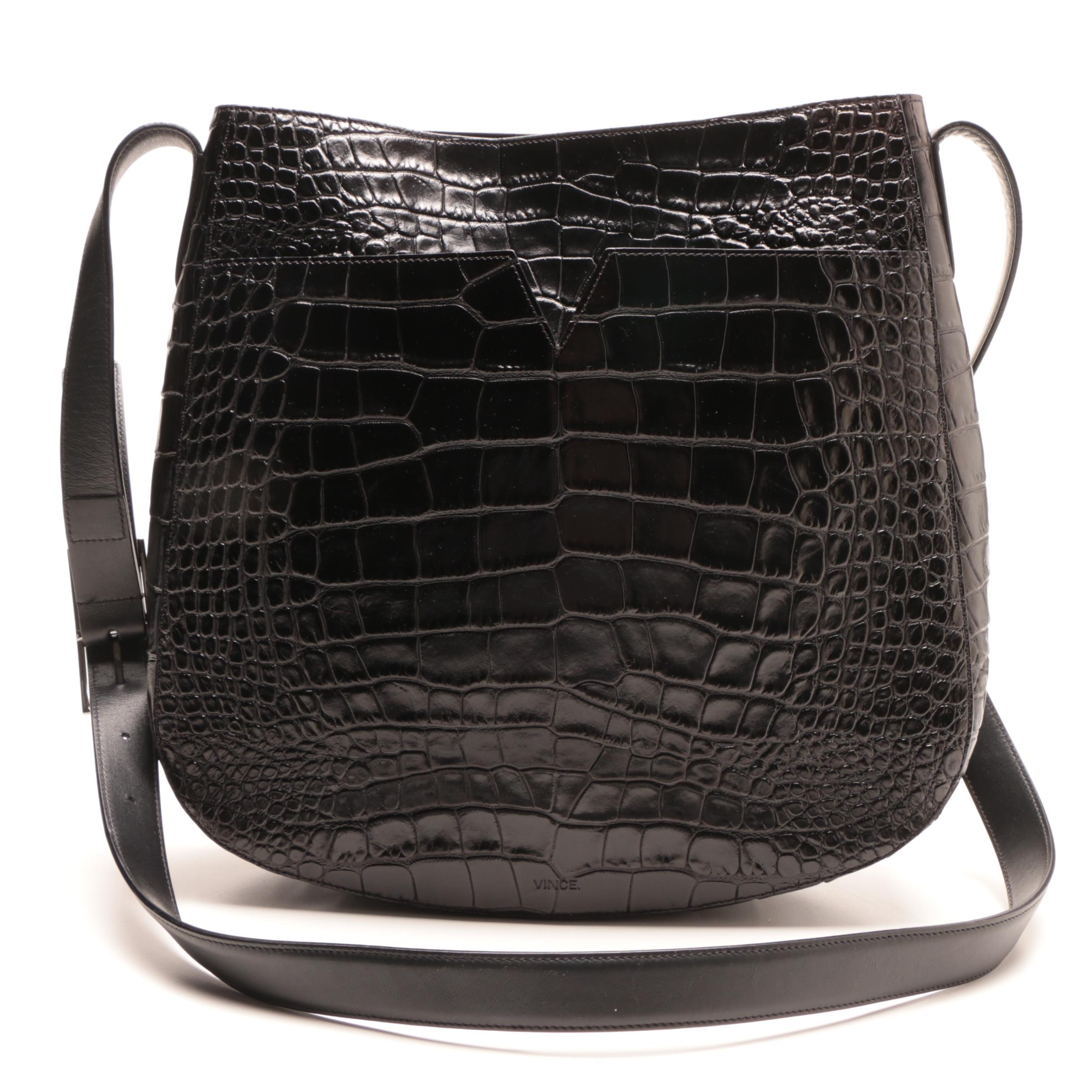 Vince Alligator Embossed Black Leather Shoulder Bag