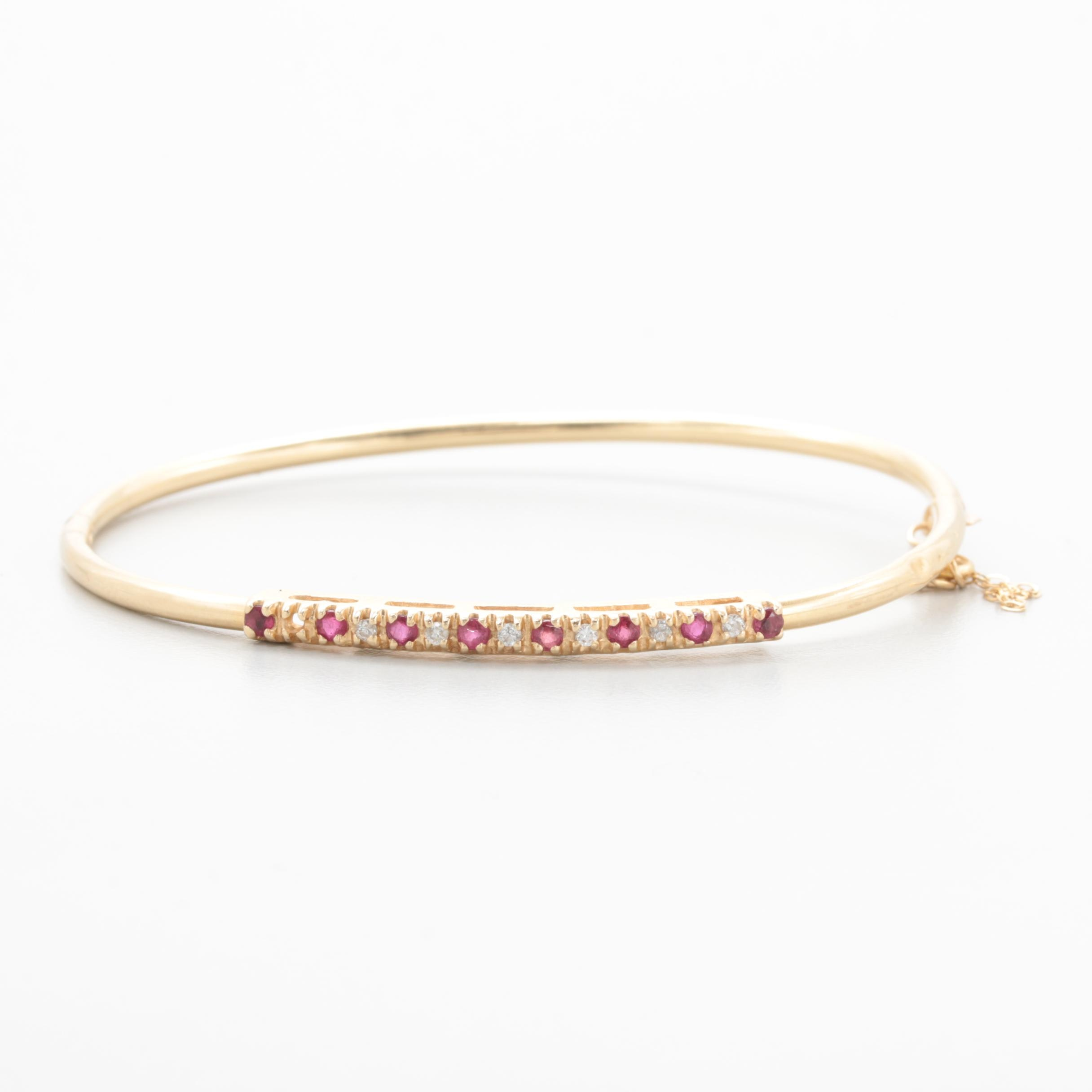 14K Yellow Gold Ruby and Diamond Hinged Bangle Bracelet
