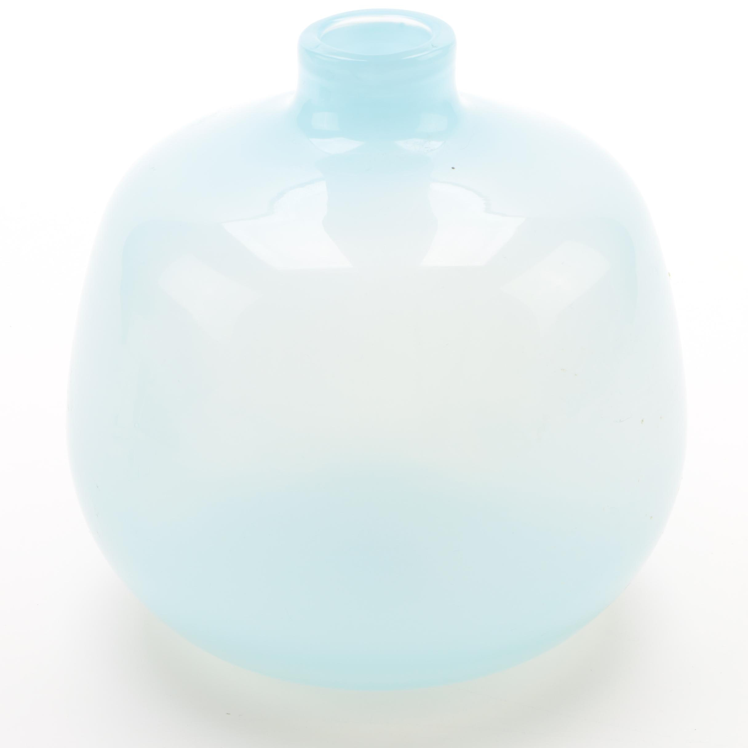 Rounded Pale Blue Art Glass Vase