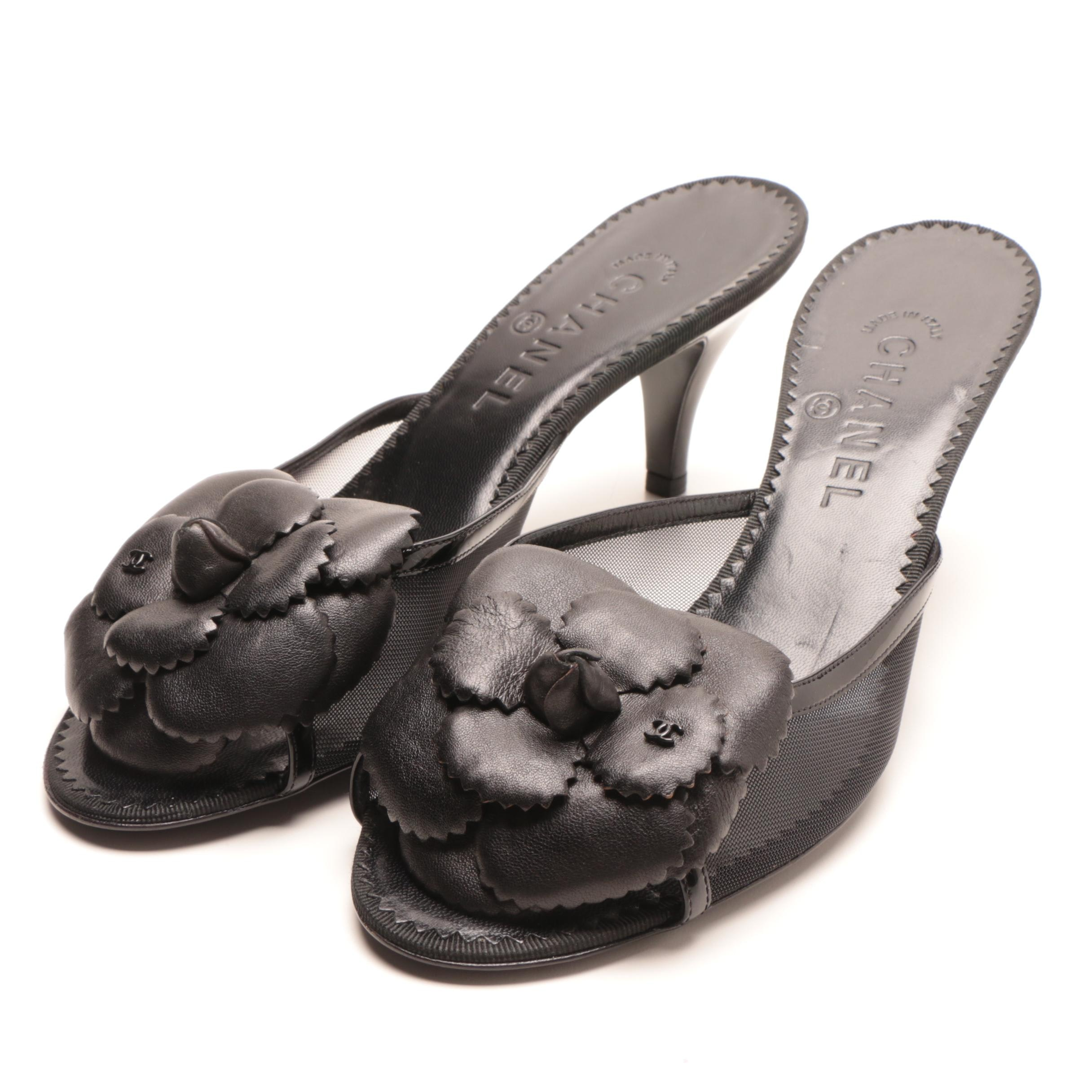 Chanel Black Heeled Sandals with Leather Floral Accents