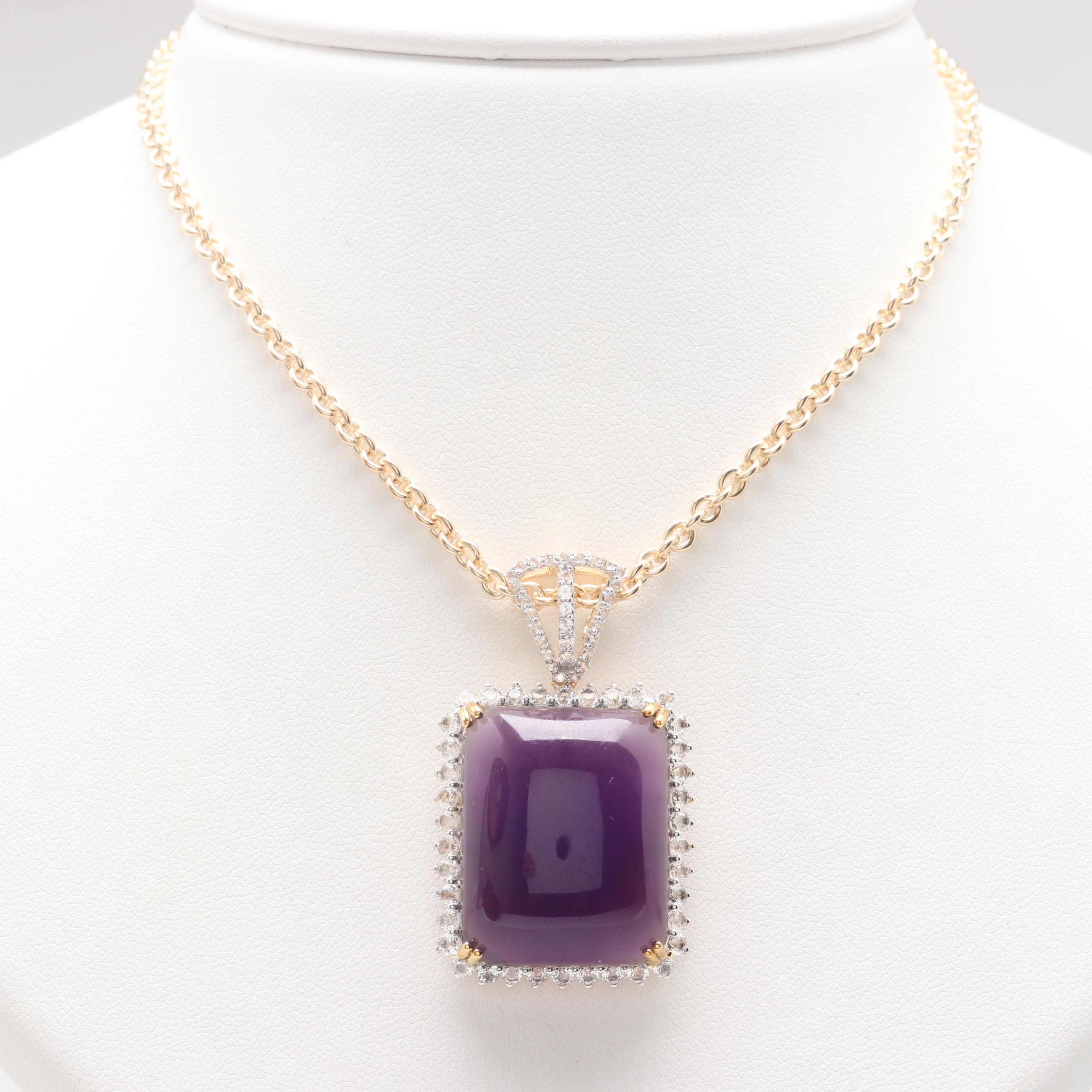 Gold Wash on Sterling Silver Amethyst and White Topaz Pendant Necklace