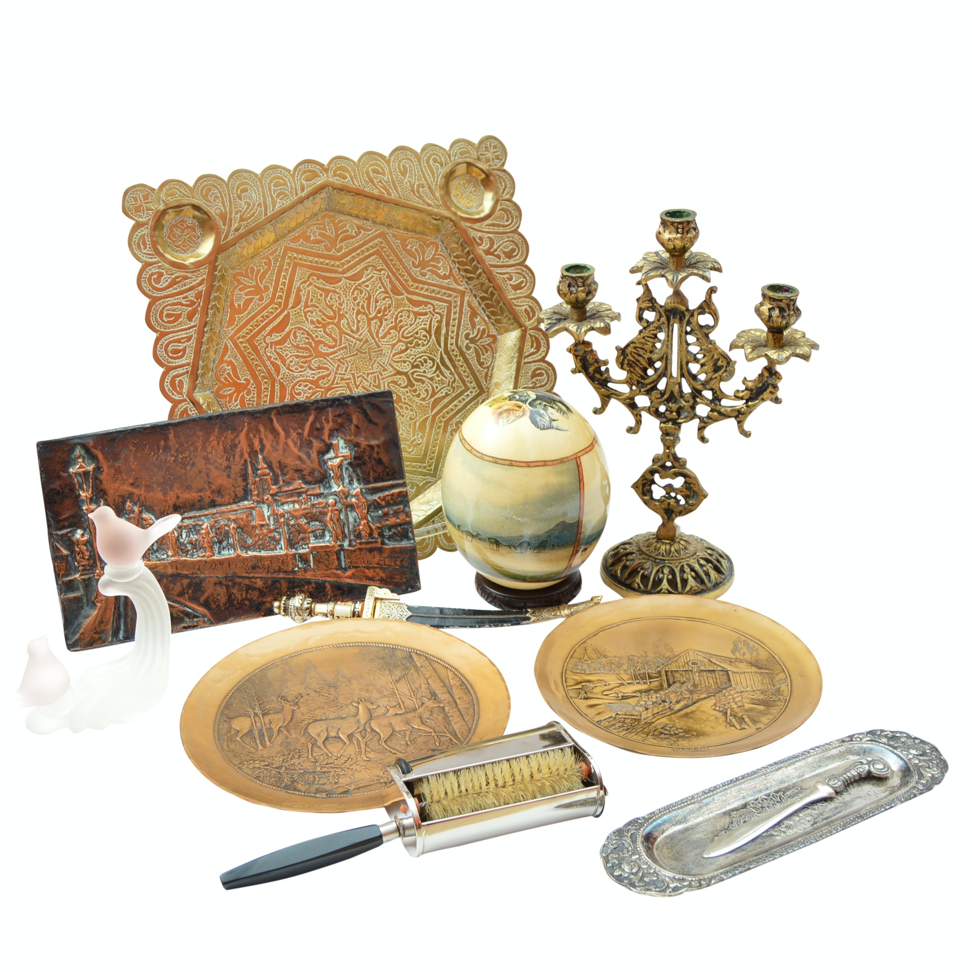Collectibles with Decoupage Ostrich Egg and Bronze Plates