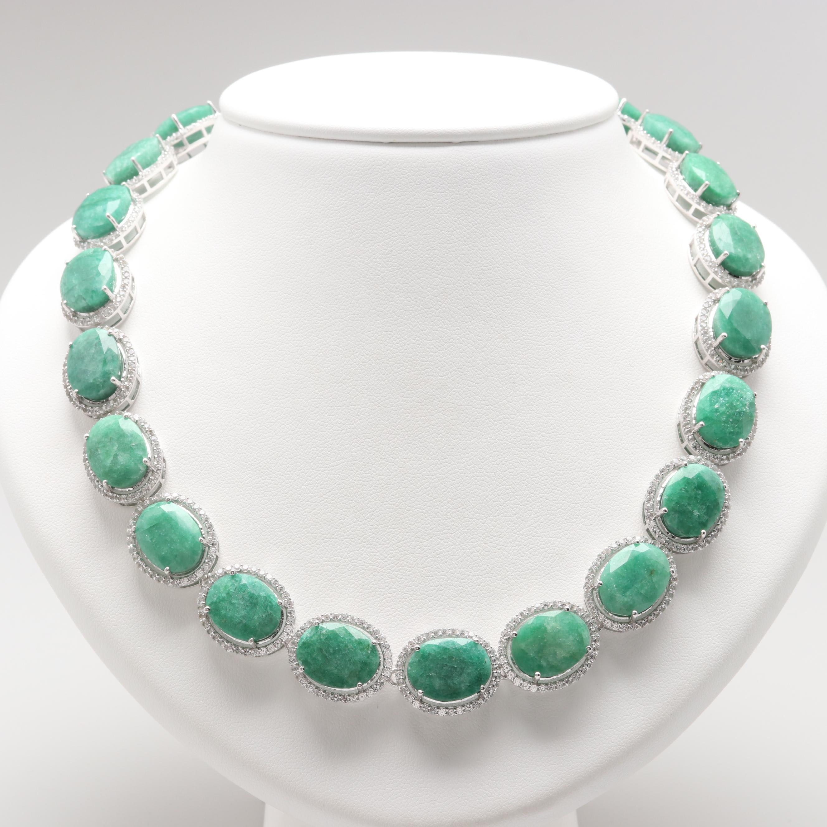 Sterling Silver Green Beryl and White Sapphire Link Necklace