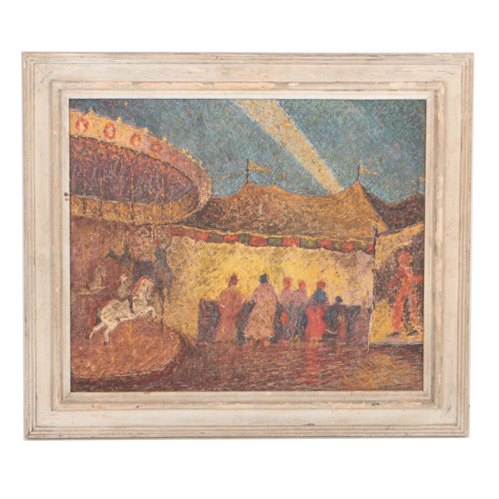 "Clarence Klatt 1961 Oil Painting ""County Fair"""